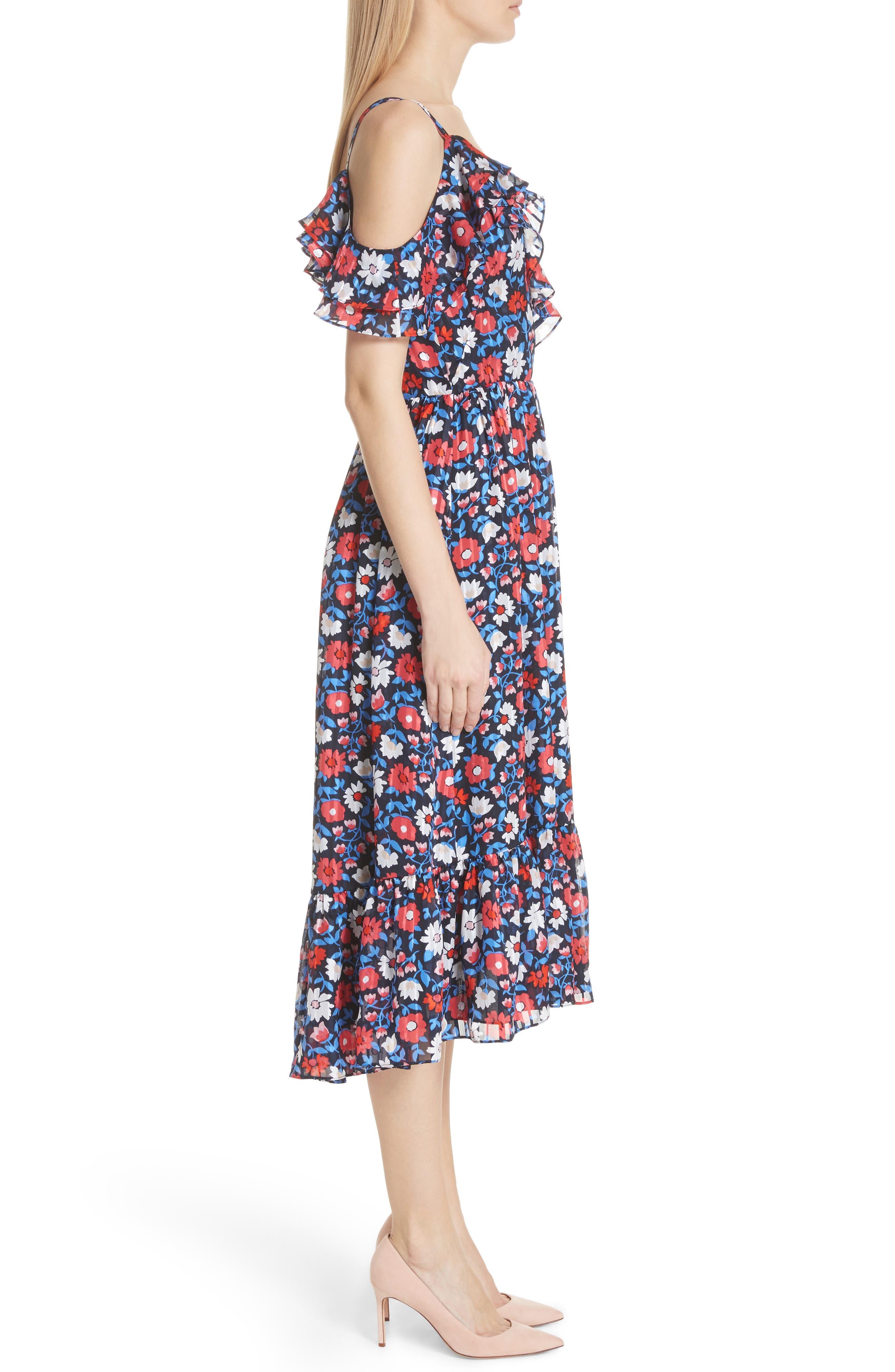 daisy satin stripe midi silk dress,                             Alternate thumbnail 3, color,