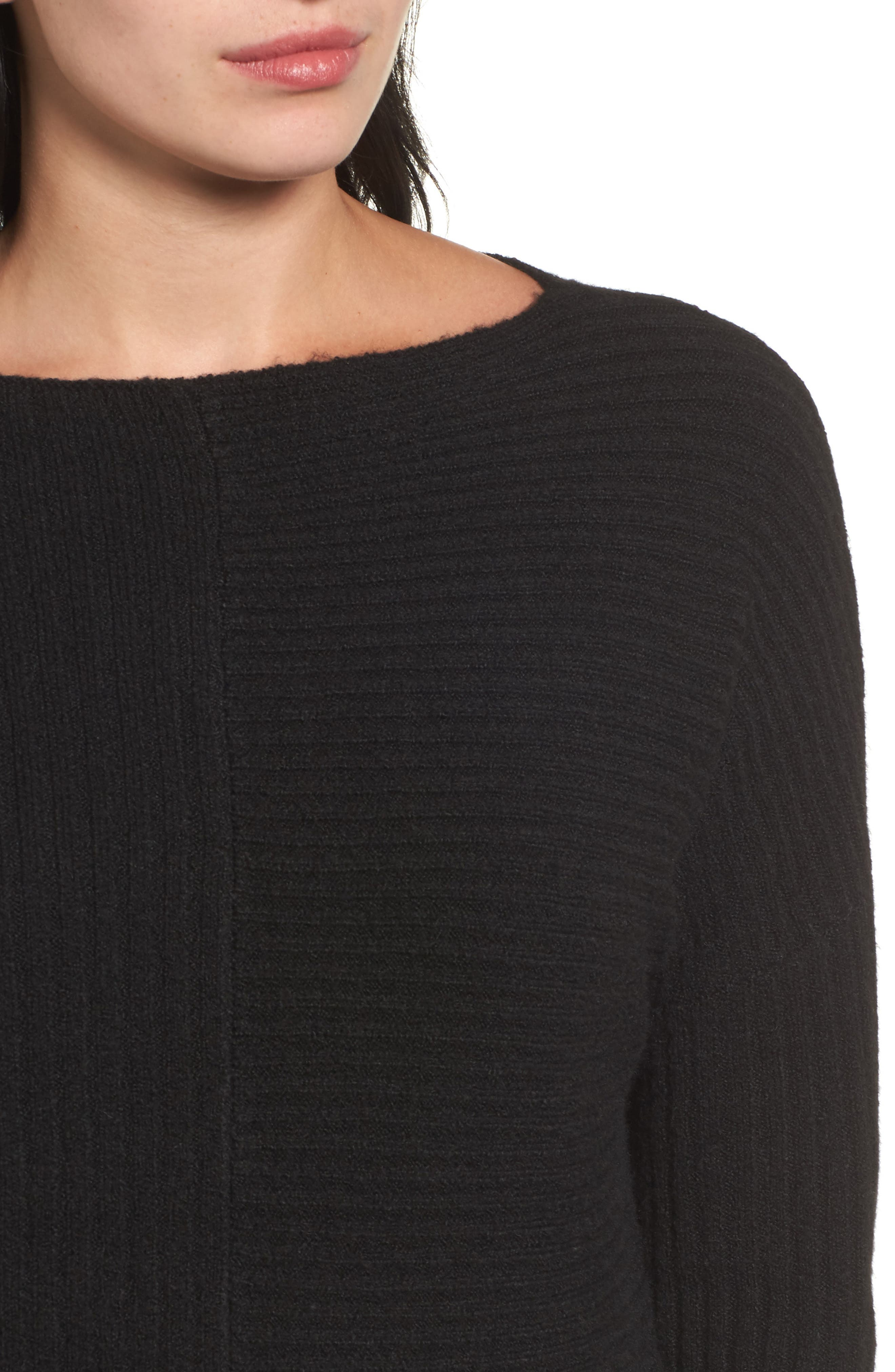 Multi Ribbed Fleece Knit Sweater,                             Alternate thumbnail 4, color,                             001