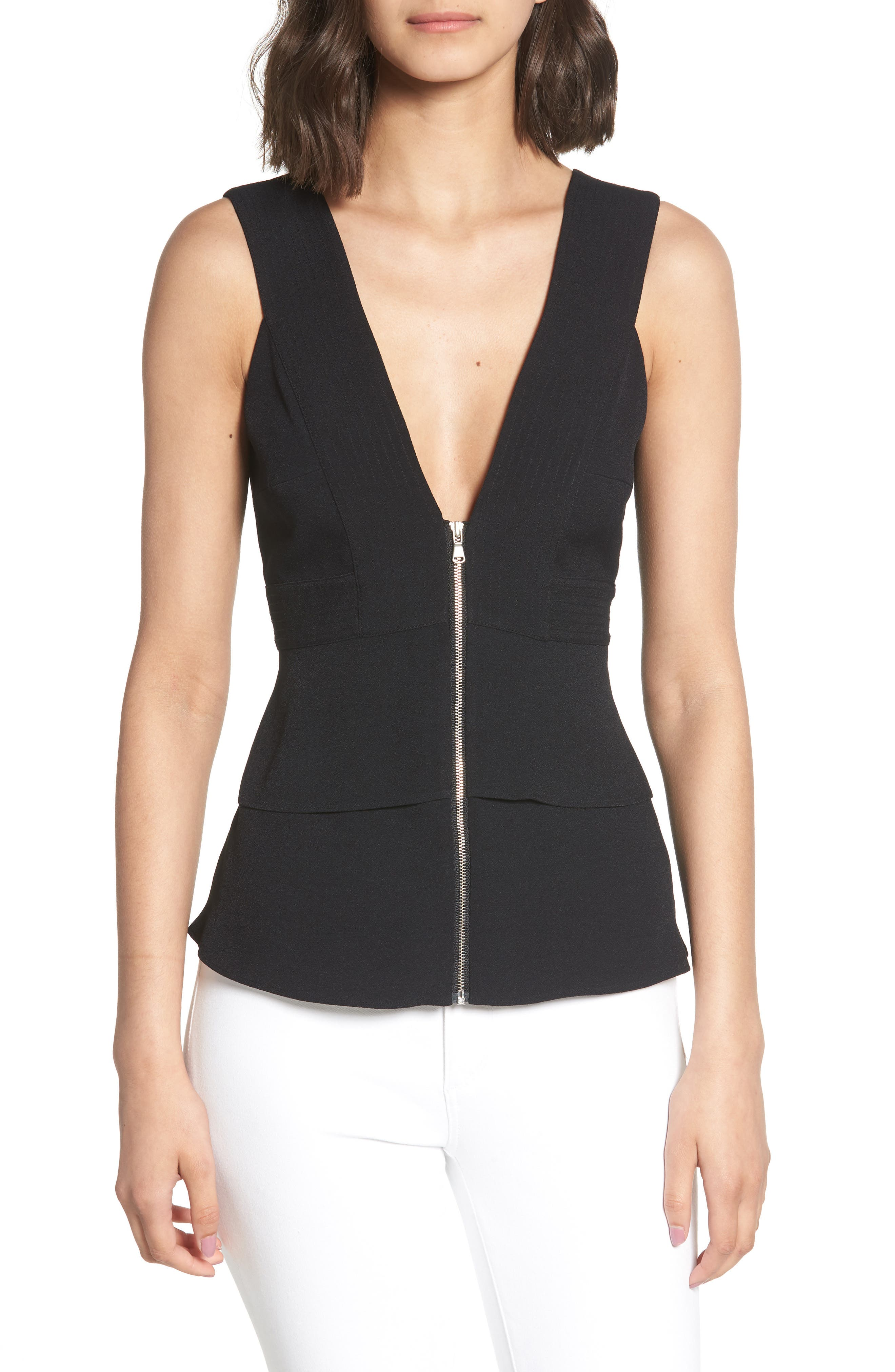 Trapunto Zip Front Sleeveless Top,                         Main,                         color, BLACK