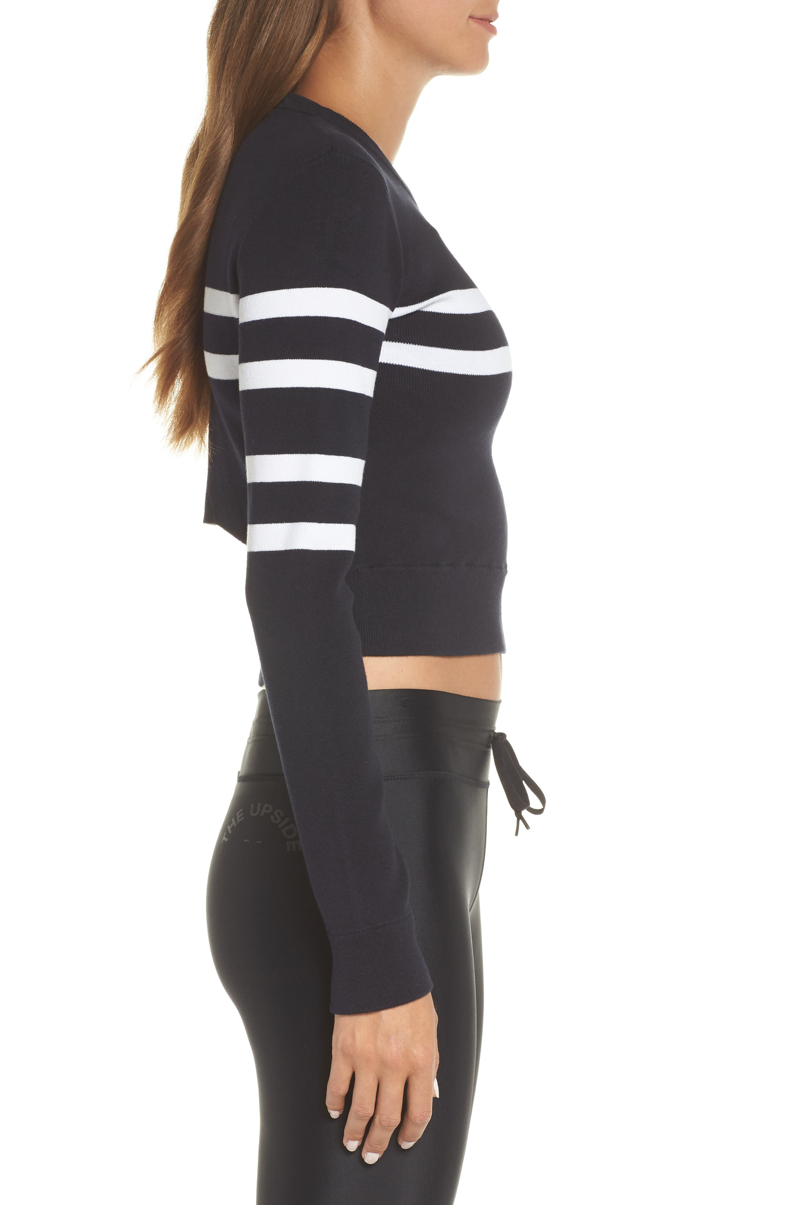 Nala Crop Sweater,                             Alternate thumbnail 3, color,                             INDIGO