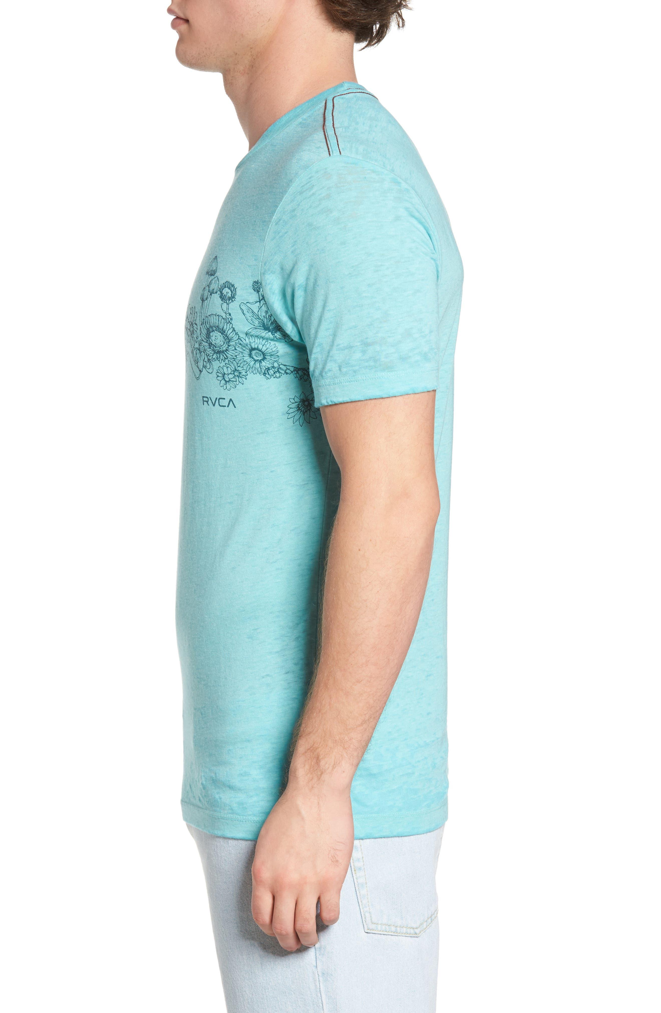 Sage Stripe Floral Graphic T-Shirt,                             Alternate thumbnail 3, color,