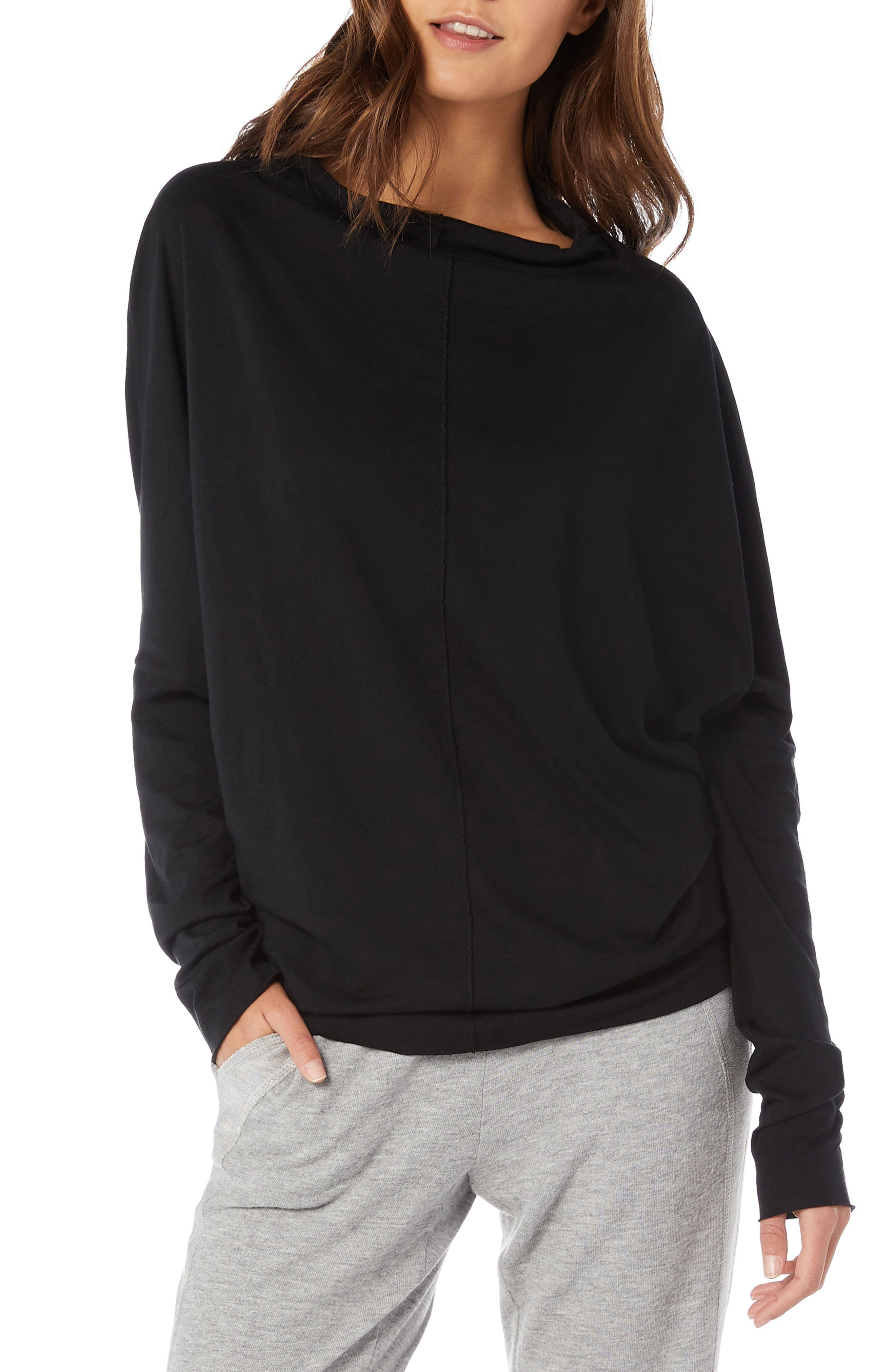 Ultra Jersey Open Neck Top,                         Main,                         color, BLACK