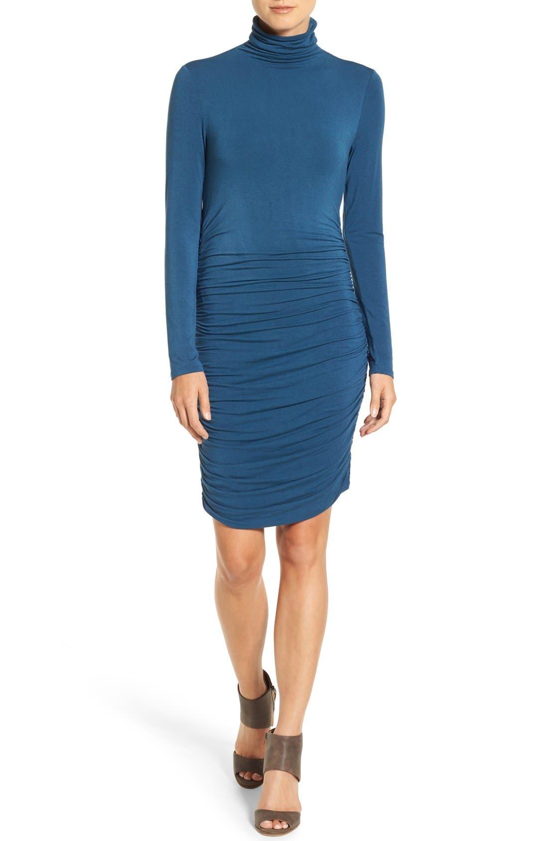 Side Ruched Turtleneck Dress,                             Main thumbnail 1, color,                             401