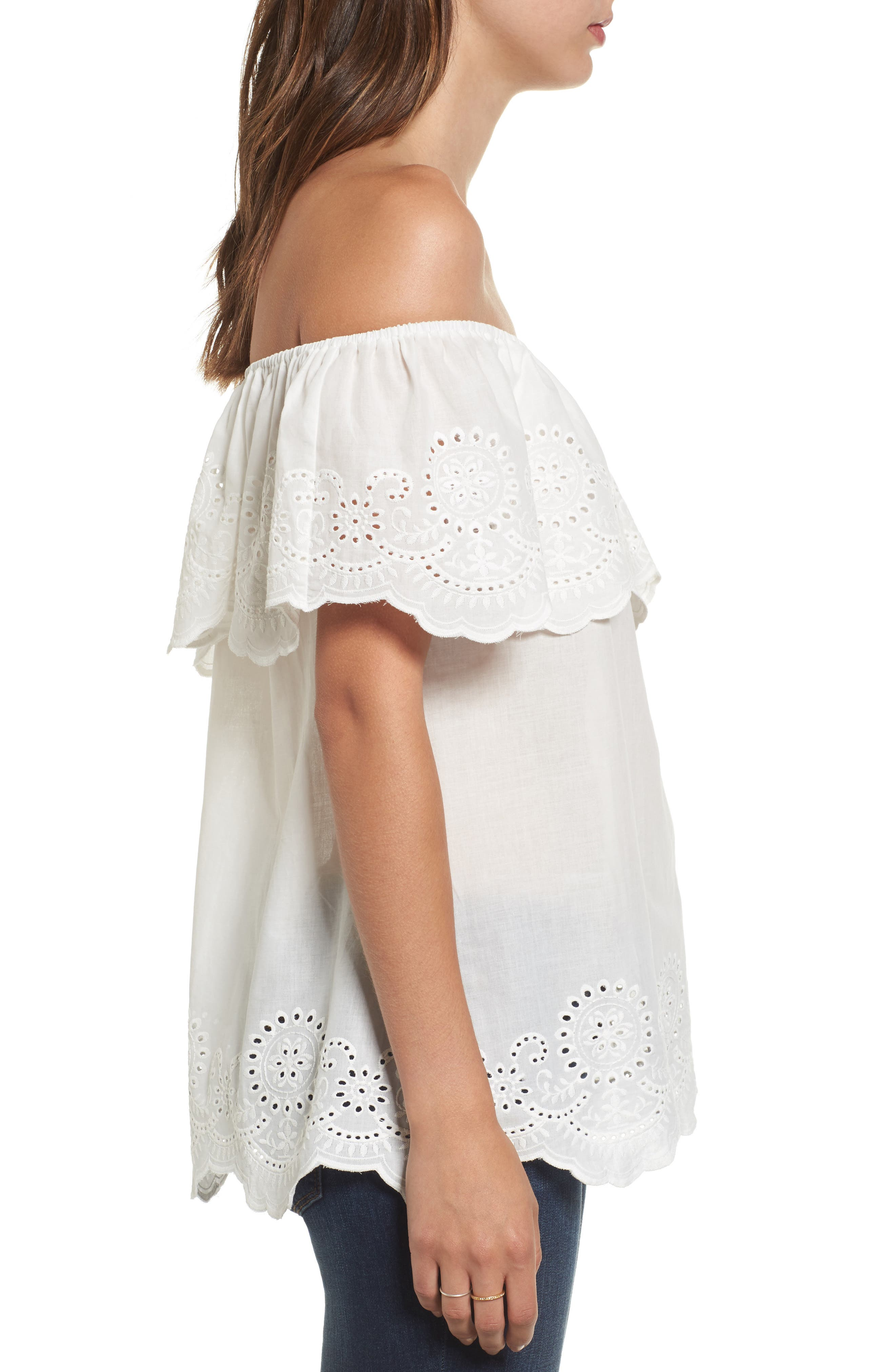 Eyelet Ruffle Off the Shoulder Top,                             Alternate thumbnail 3, color,                             100