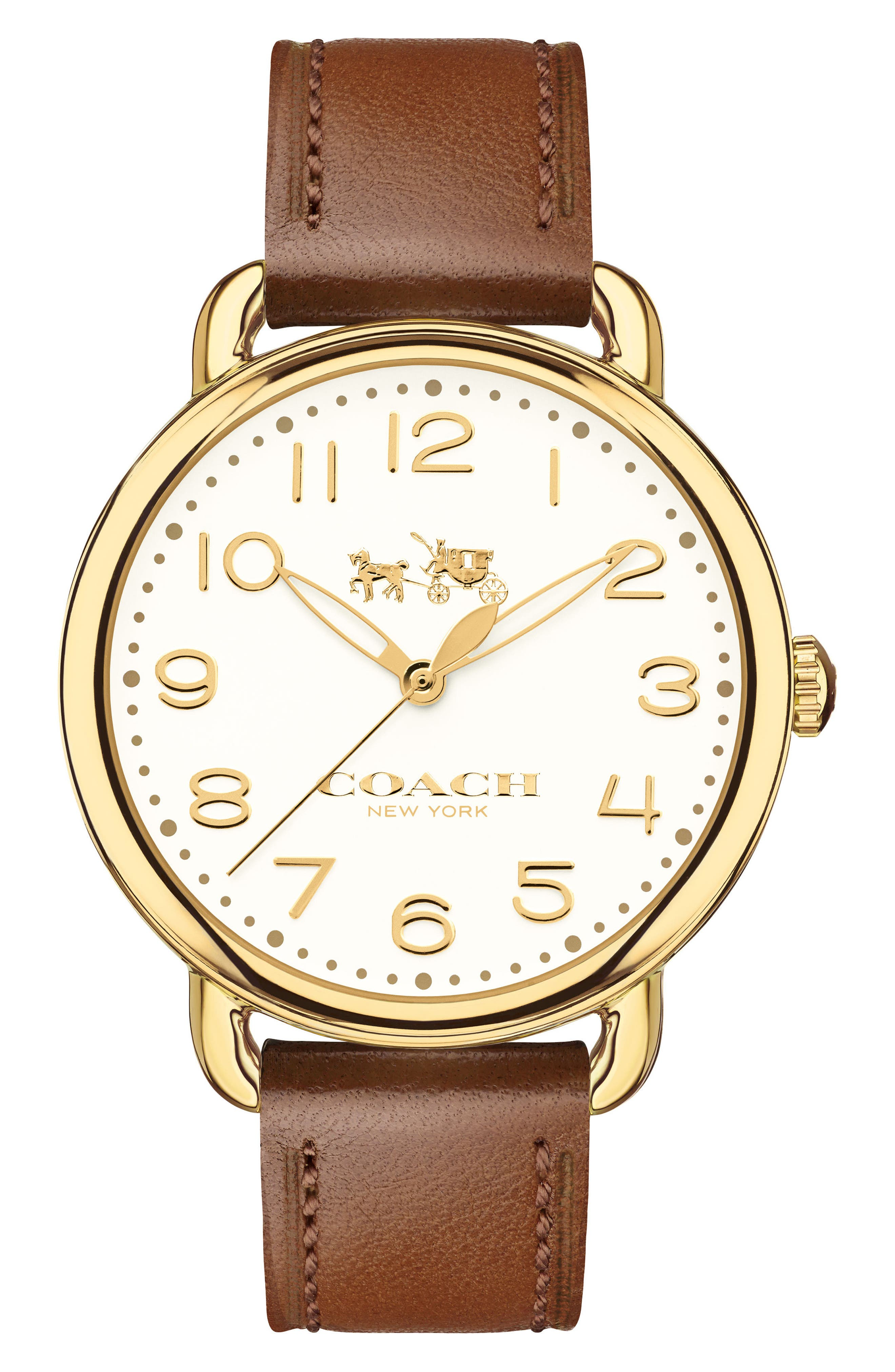 Delancey Leather Strap Watch, 36mm,                         Main,                         color, BROWN/ WHITE/ GOLD