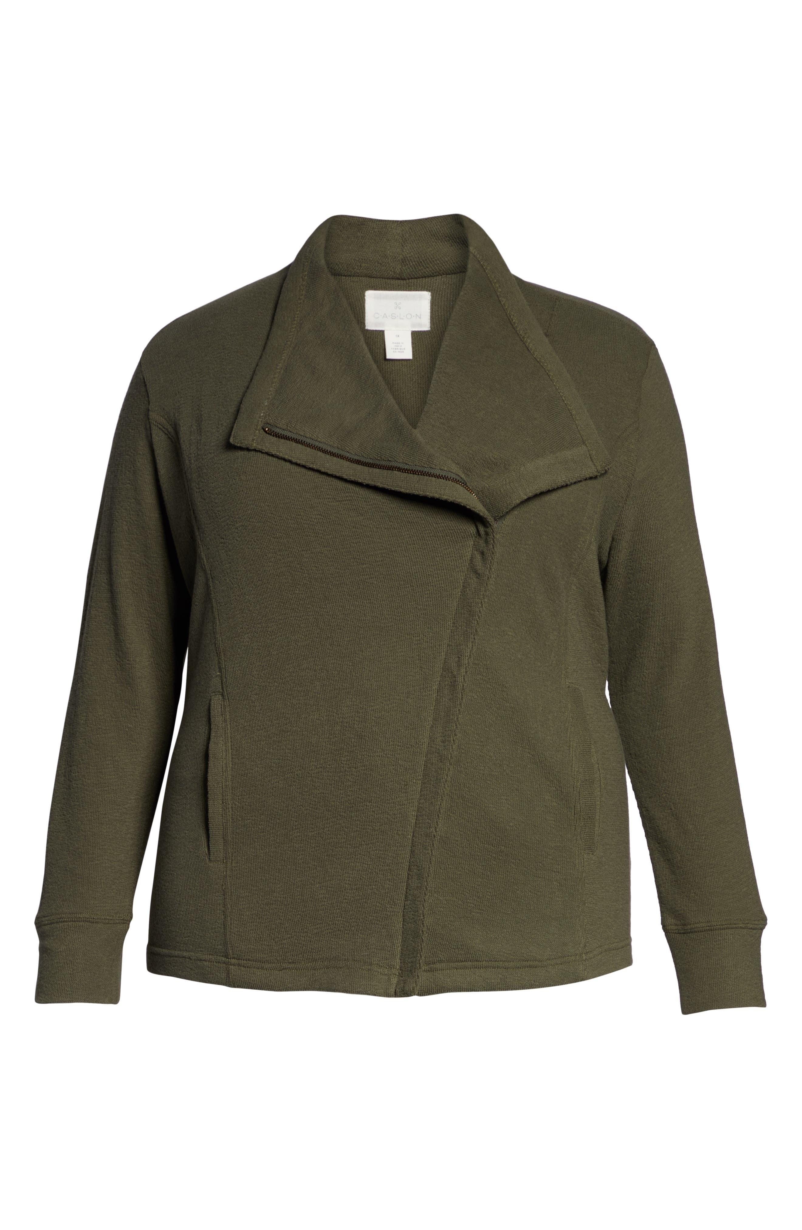 Knit Moto Jacket,                             Alternate thumbnail 6, color,                             OLIVE SARMA