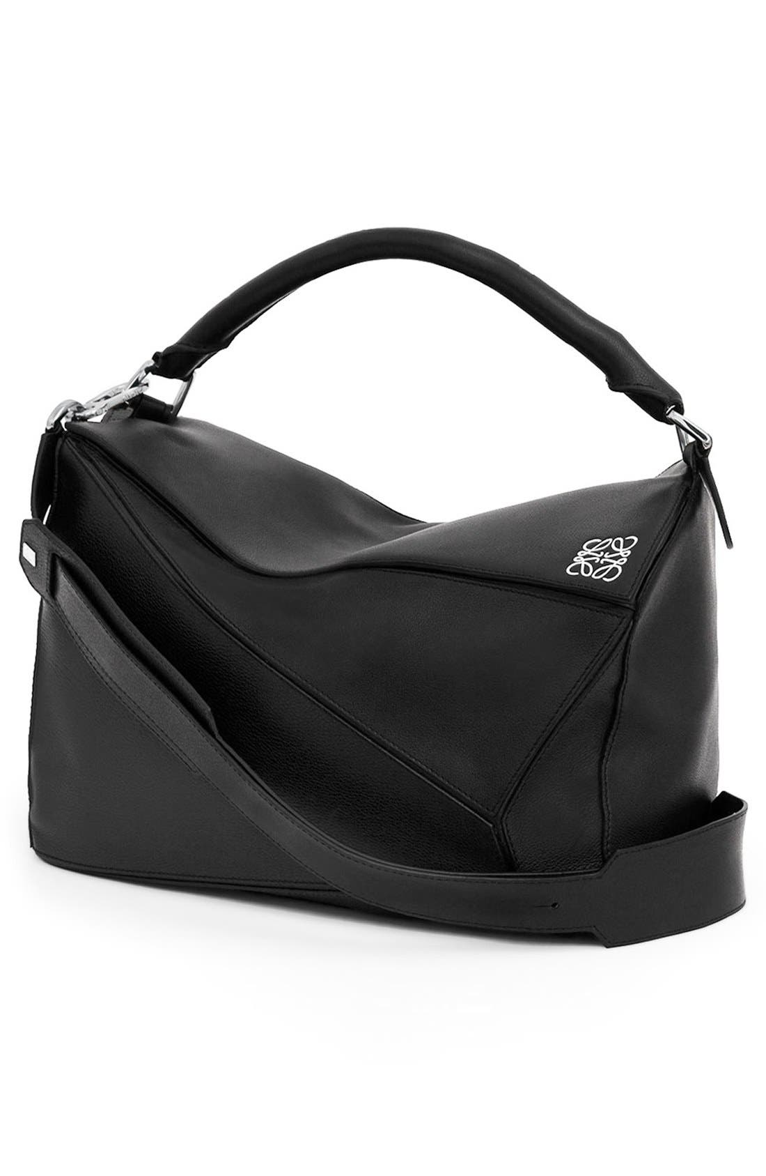 'Large Puzzle' Calfskin Leather Bag,                         Main,                         color, 001