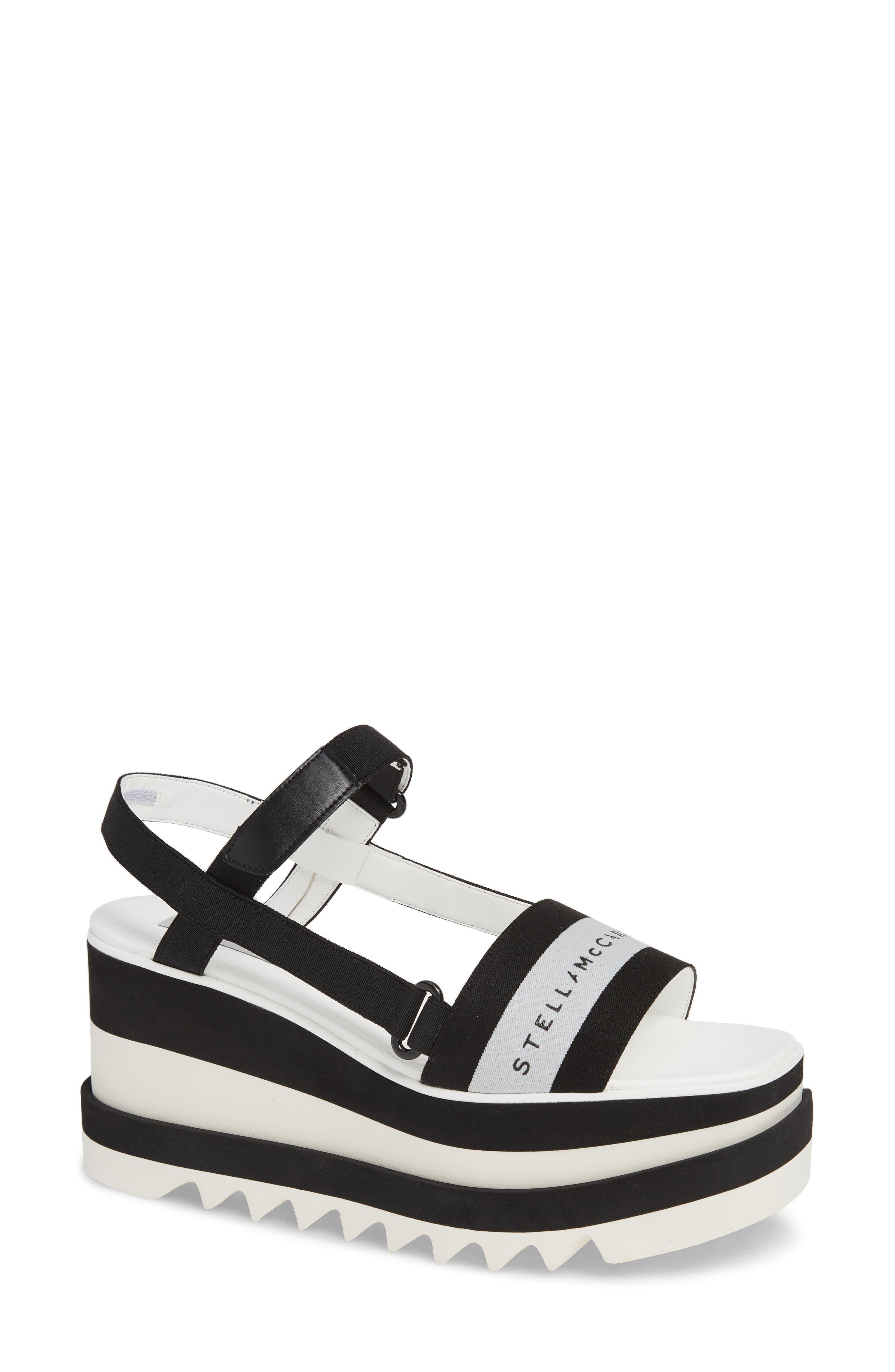 Stripe Logo Platform Sandal,                             Main thumbnail 1, color,                             BLACK/ WHITE