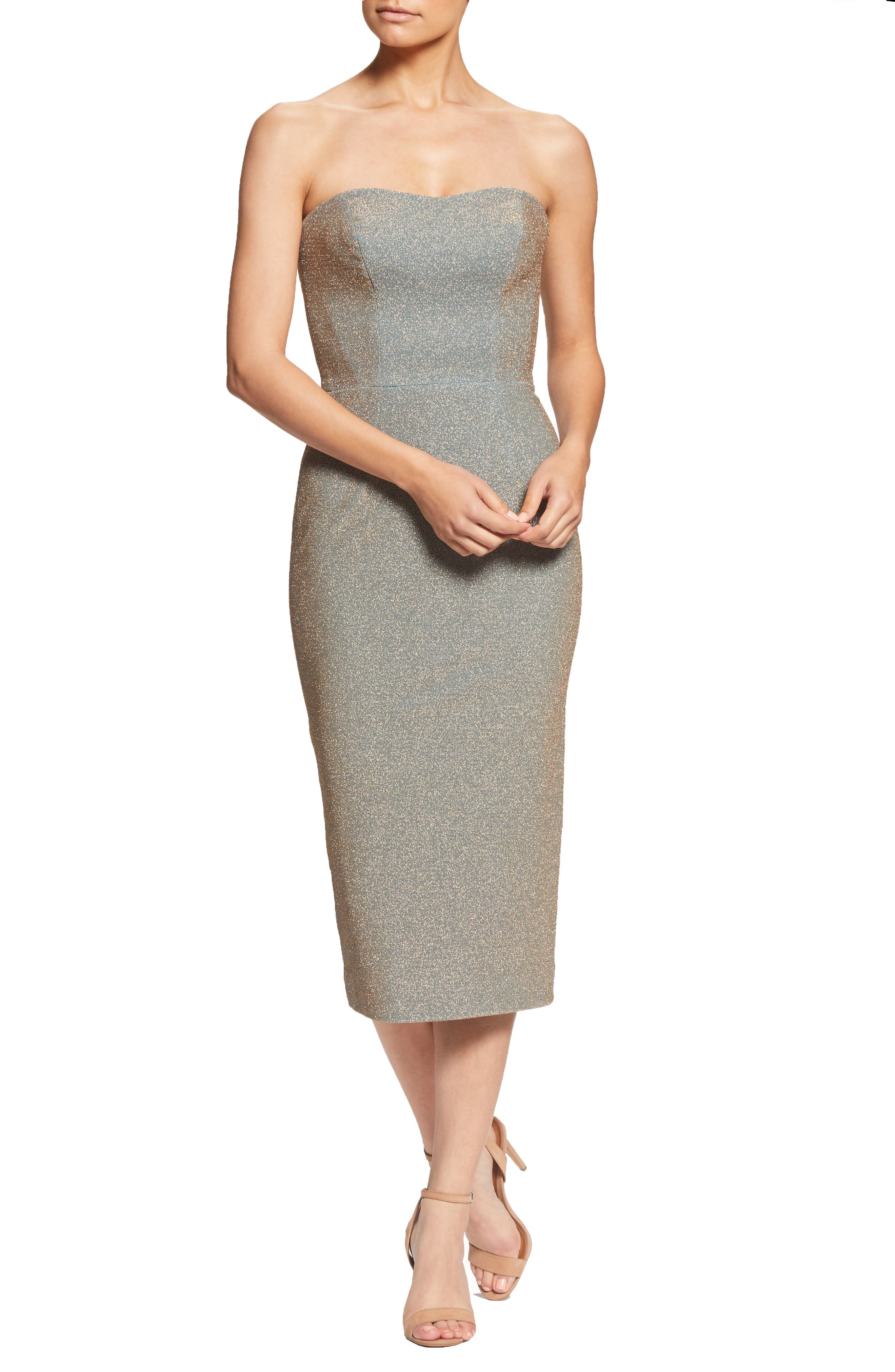 Dress The Population Claire Metallic Body-Con Midi Dress, Metallic