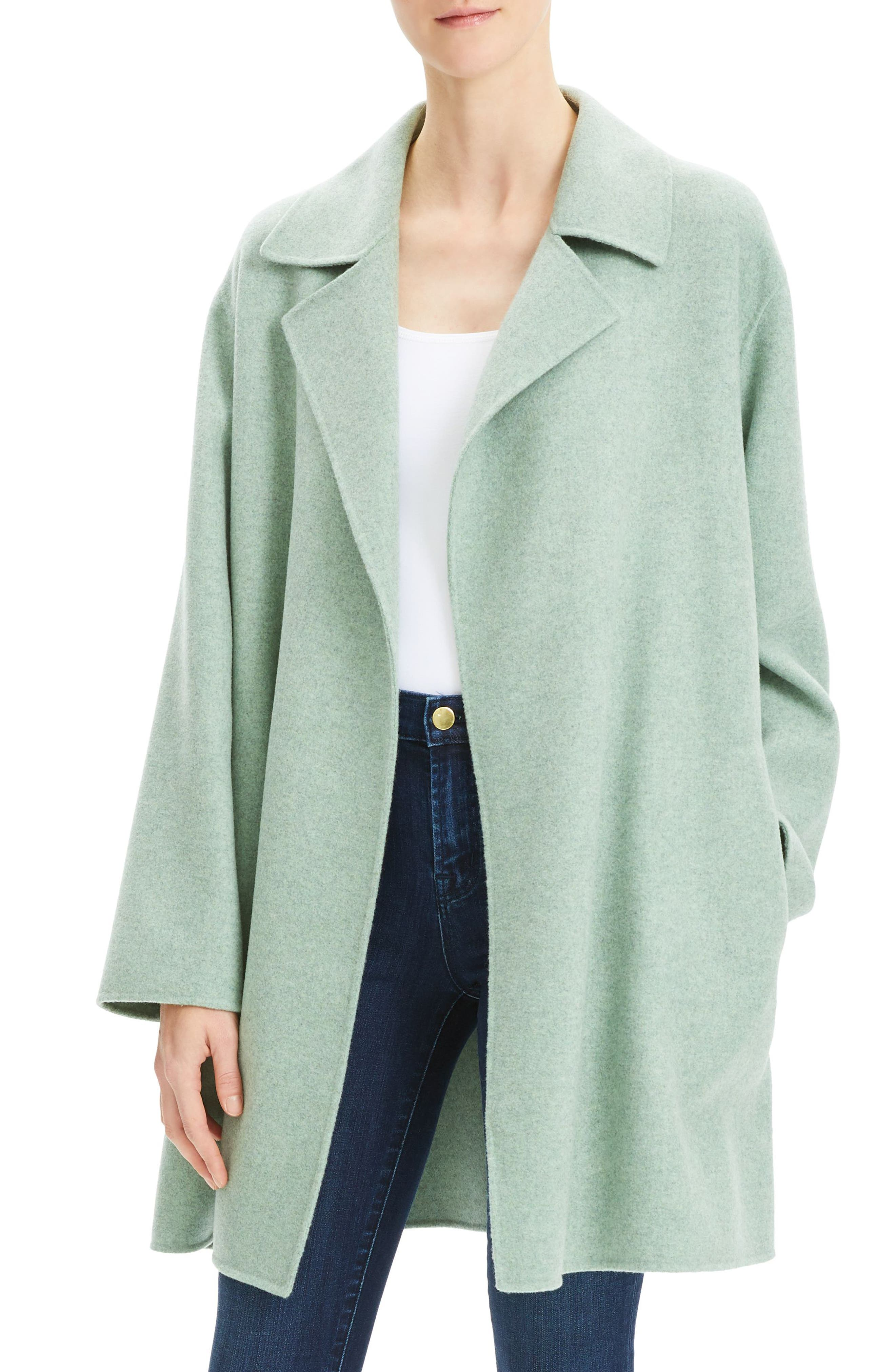 THEORY Double Face Mélange Coat, Main, color, OPAL GREEN MELANGE