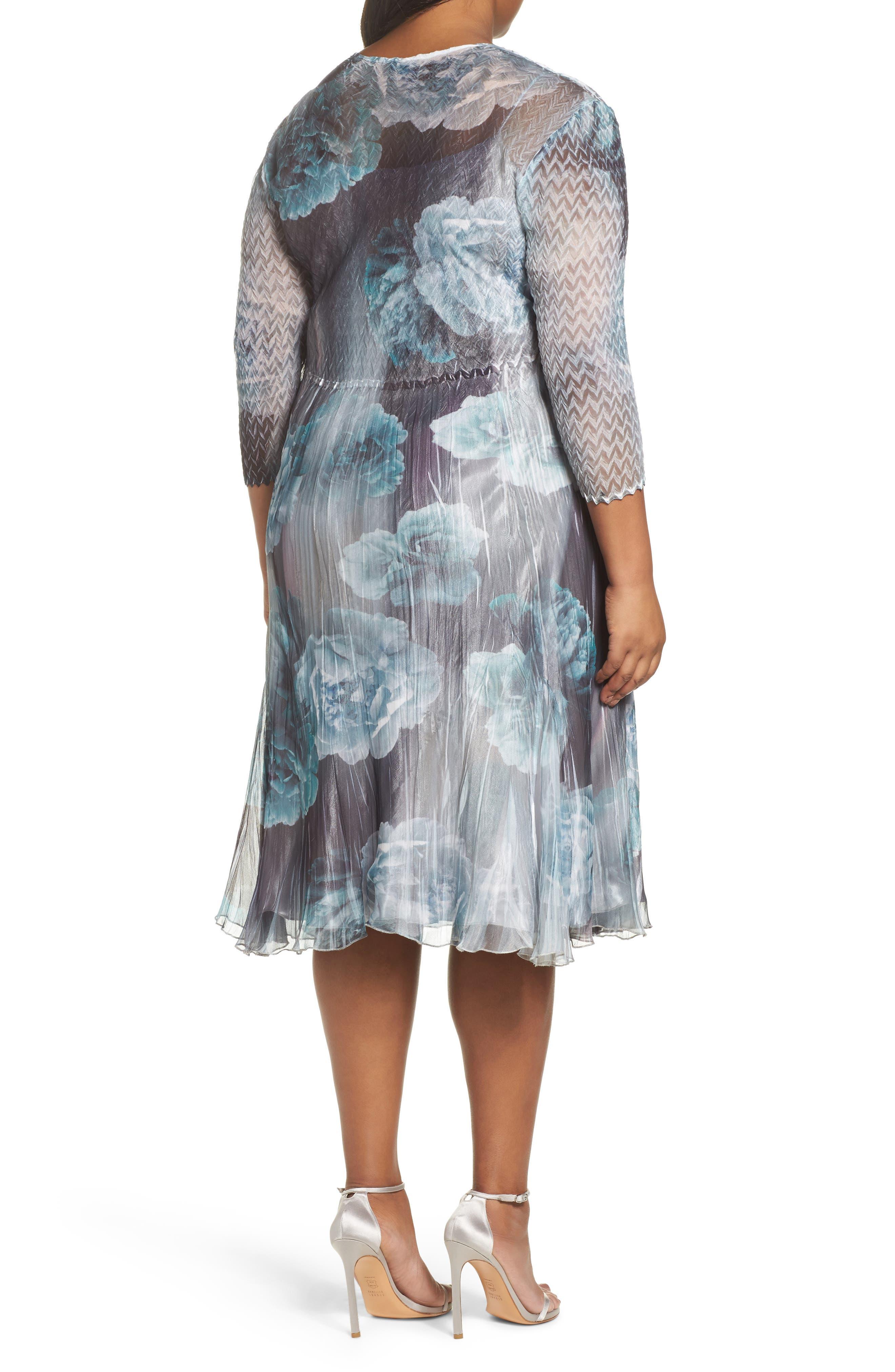 Floral Chiffon Dress,                             Alternate thumbnail 2, color,                             JADE MIST