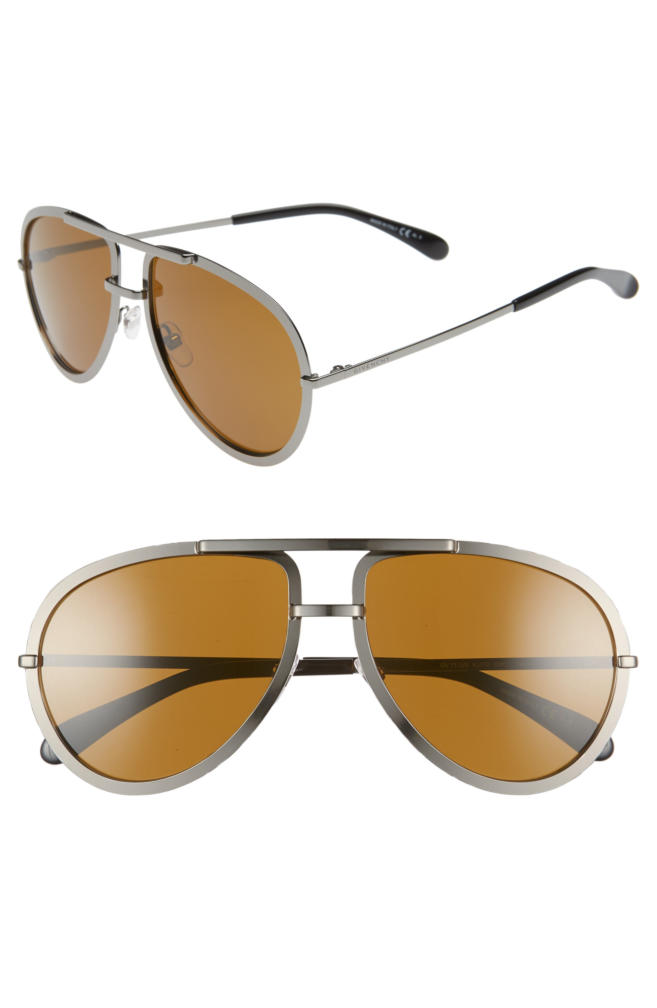 Givenchy 60Mm Aviator Sunglasses - Dark Ruthenium