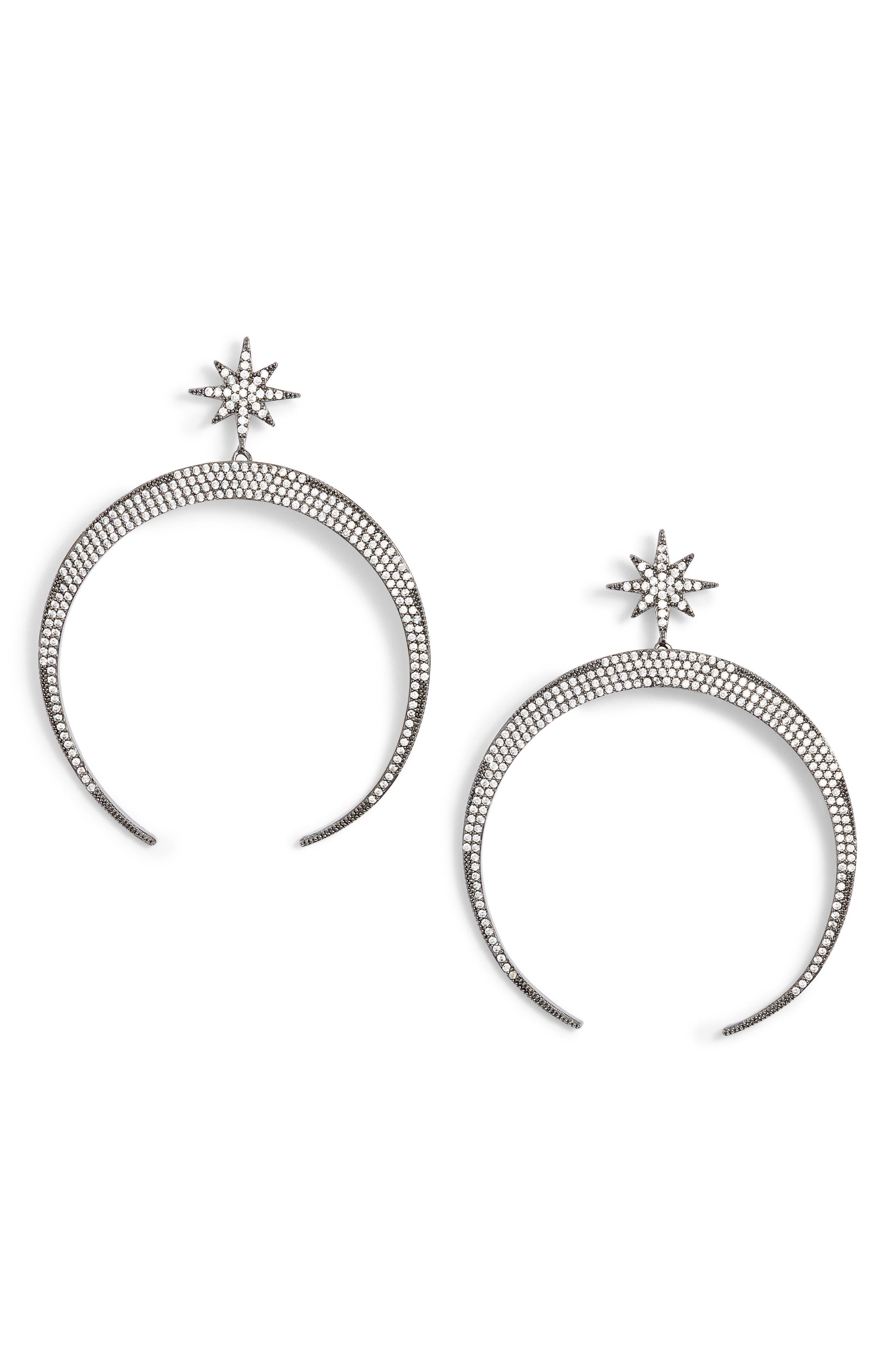 Pavé Moon Earrings,                         Main,                         color,