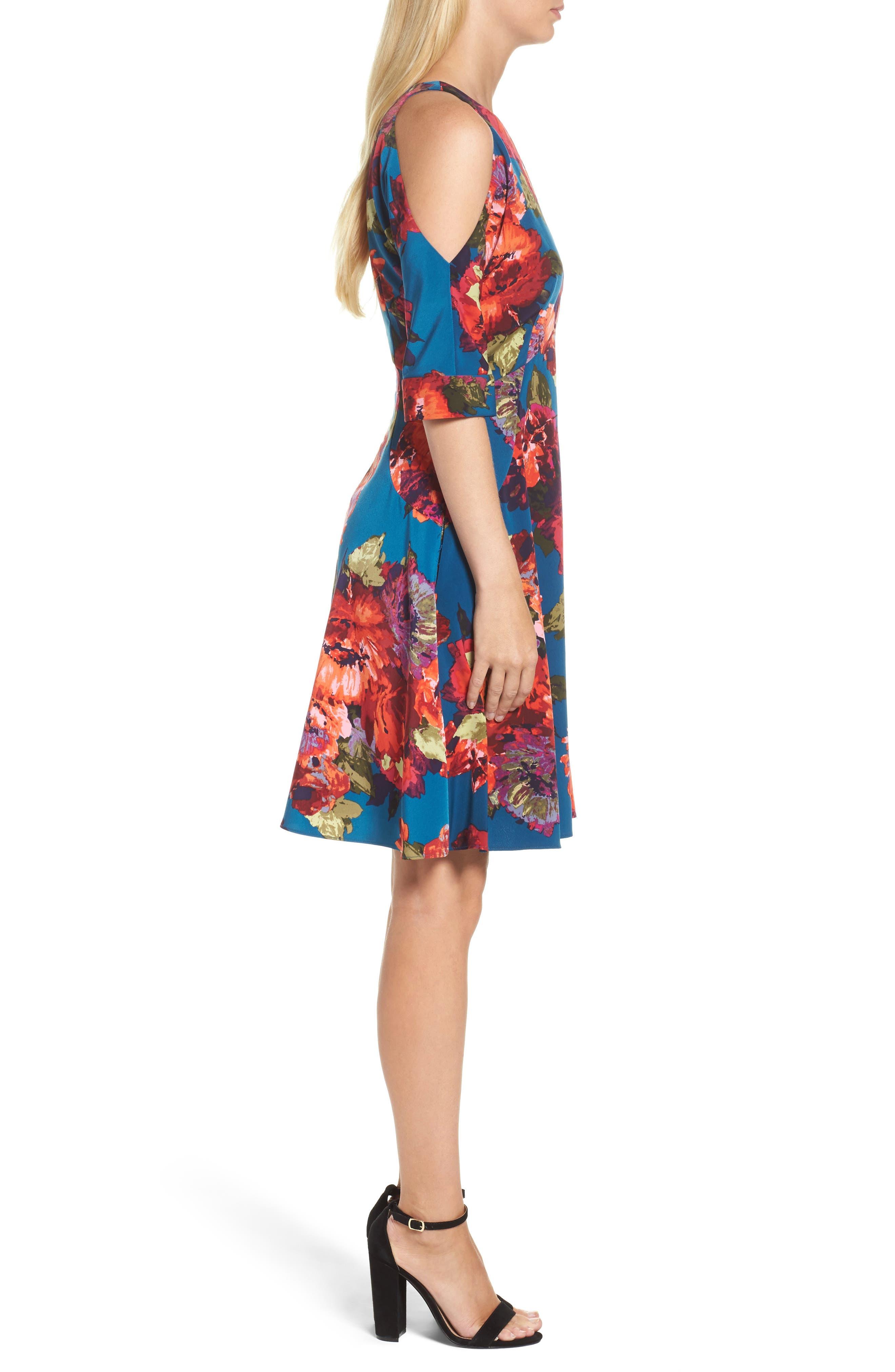 Cold Shoulder Fit & Flare Dress,                             Alternate thumbnail 3, color,                             490