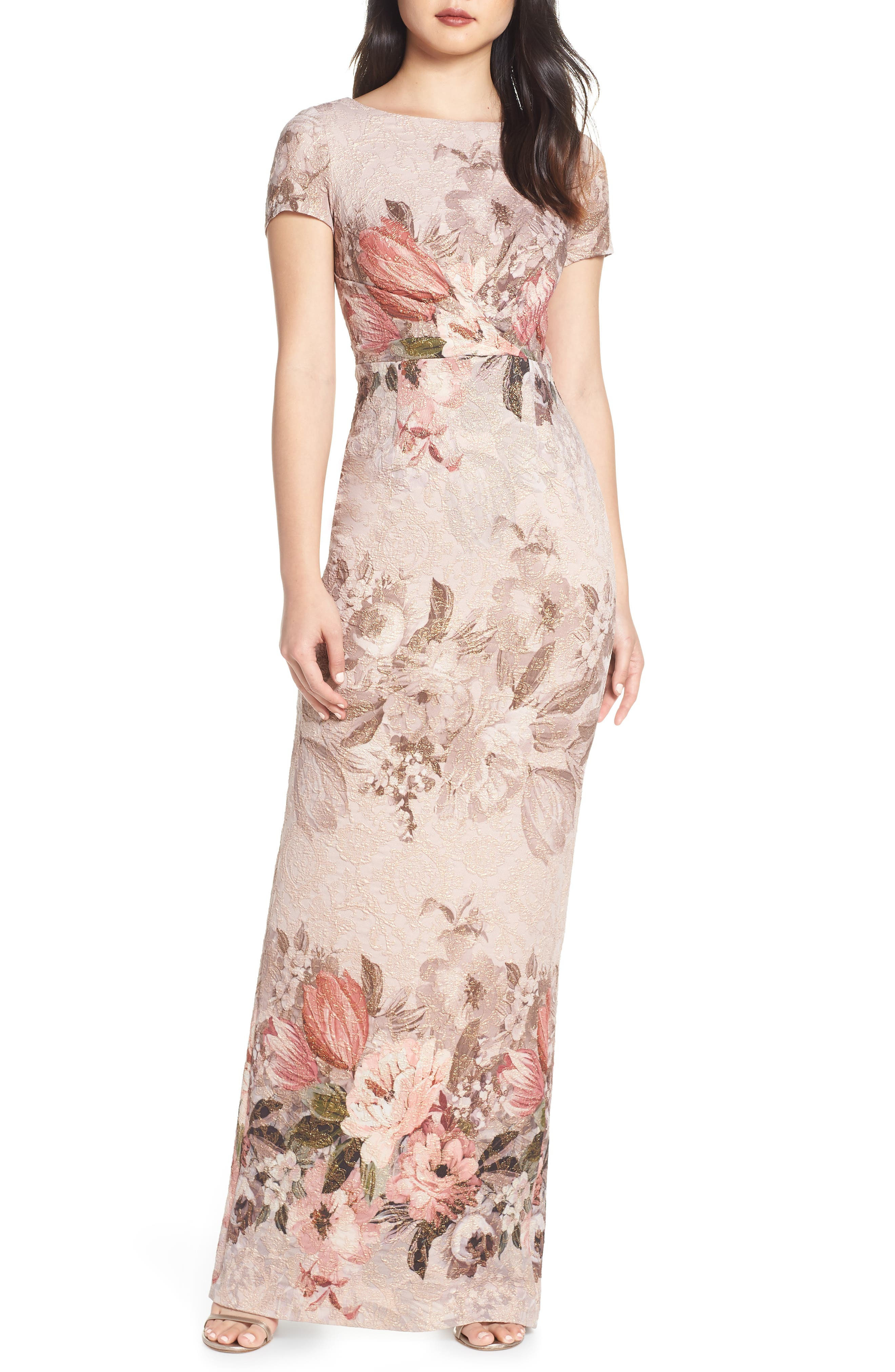 Adrianna Papell Floral Border Print Evening Dress, Pink