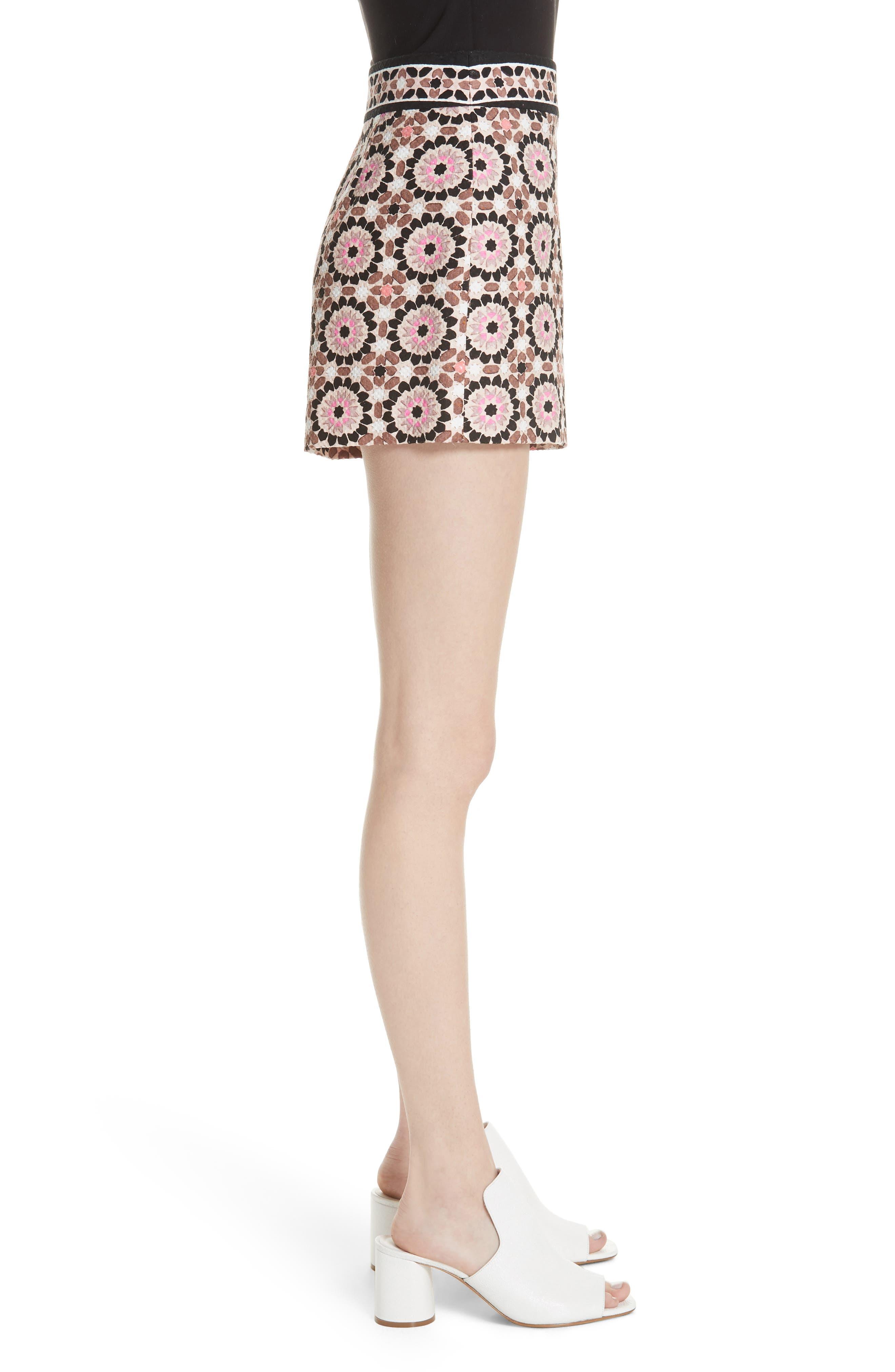 floral mosaic jacquard shorts,                             Alternate thumbnail 3, color,                             650