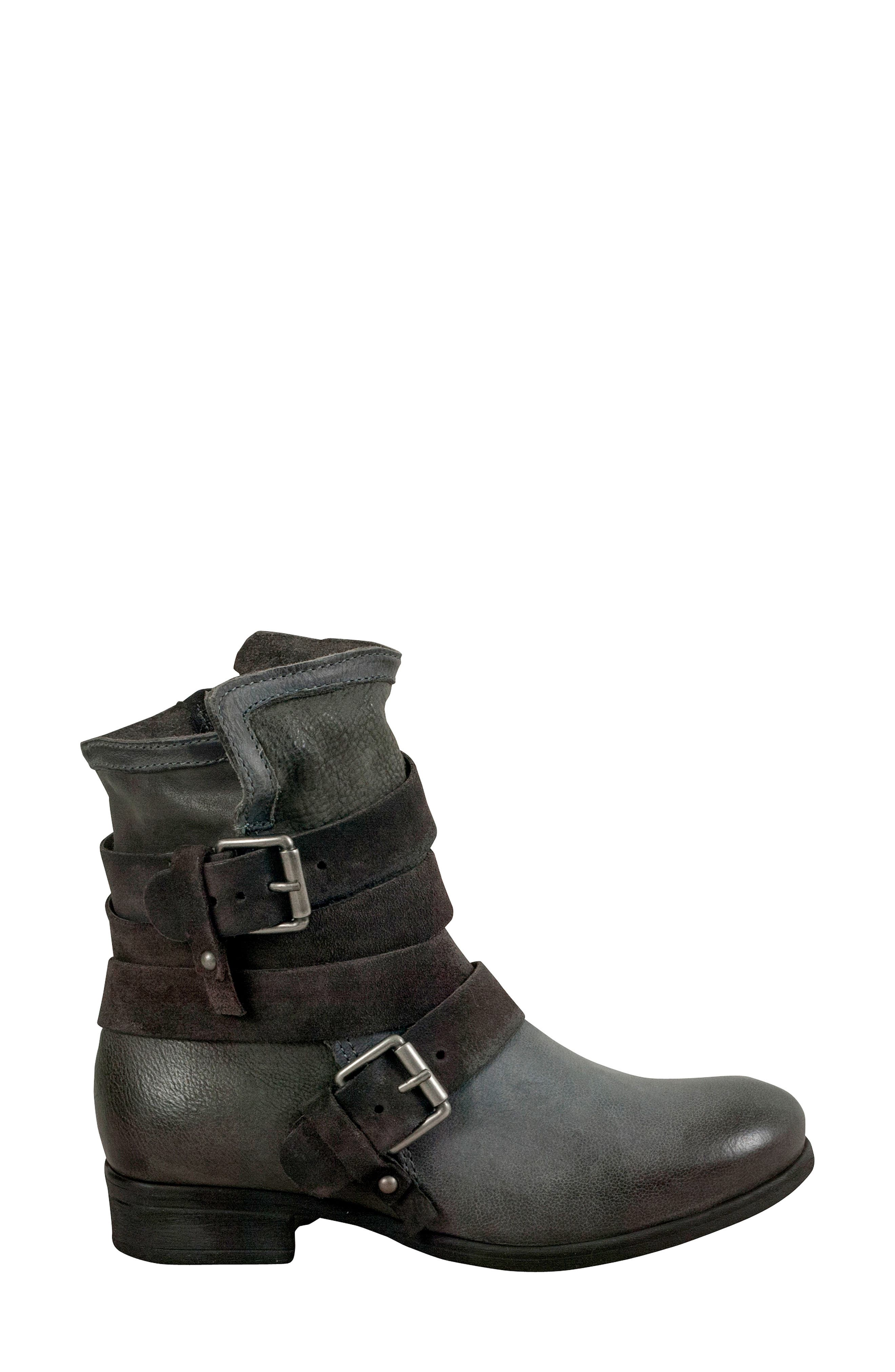 Savvy Buckle Bootie,                             Alternate thumbnail 3, color,                             GRANITE LEATHER