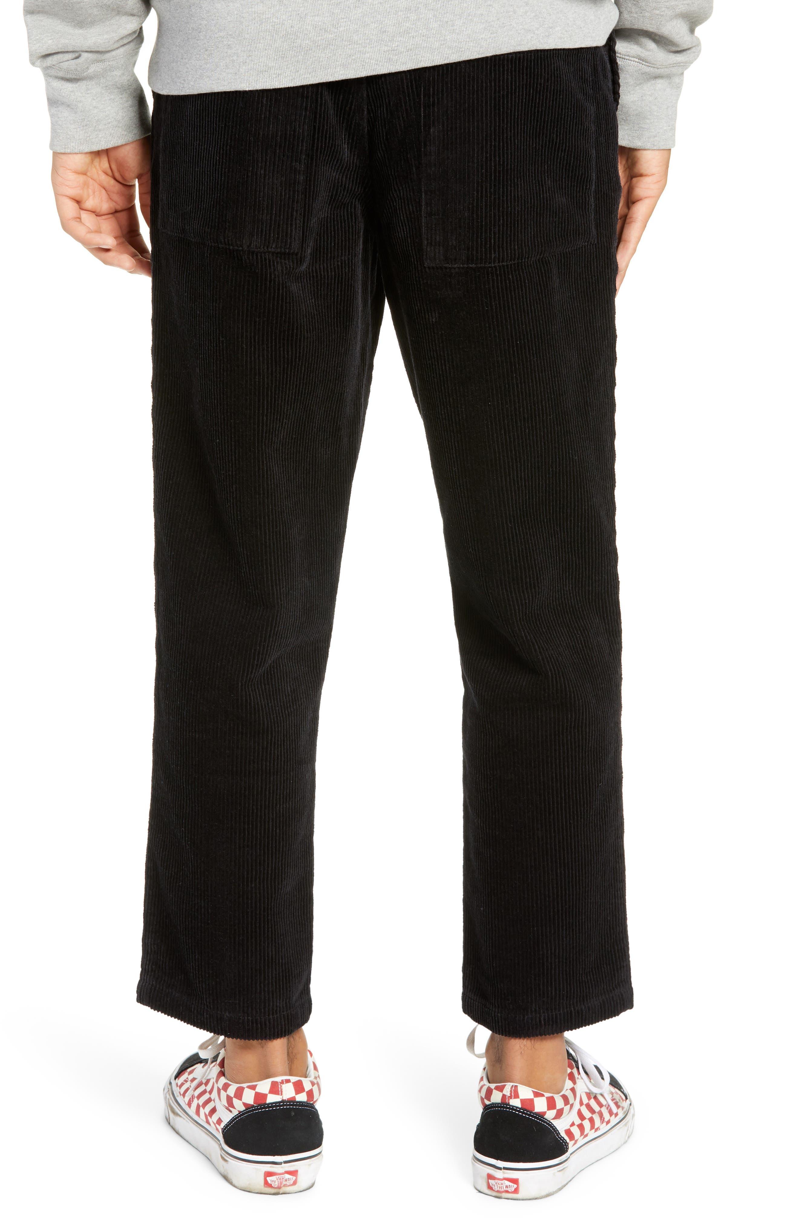 Iggy Wide Wale Cotton Corduroy Straight Leg Pants,                             Alternate thumbnail 2, color,                             BLACK