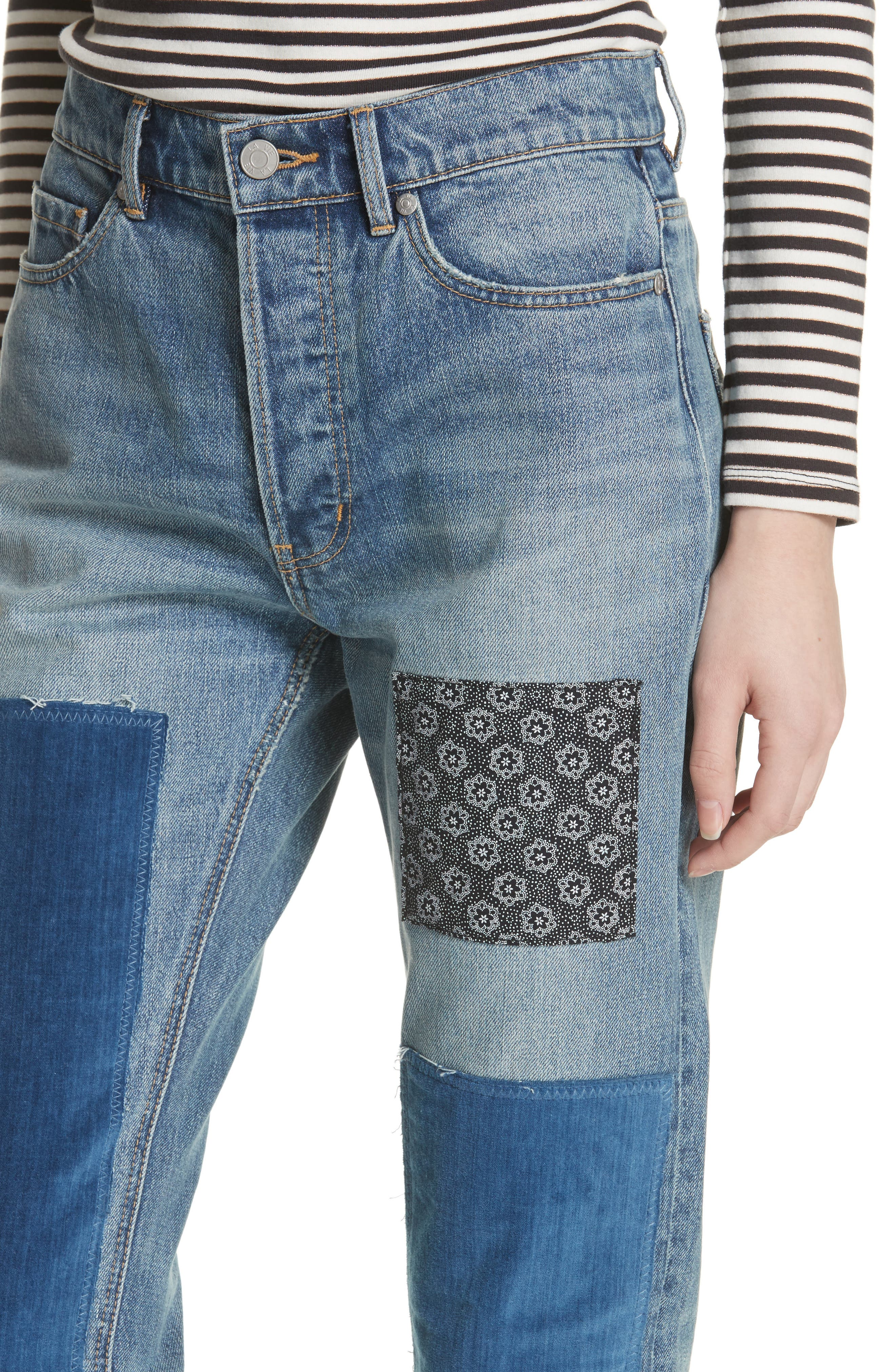 Patched Velvet & Rigid Denim Jeans,                             Alternate thumbnail 4, color,