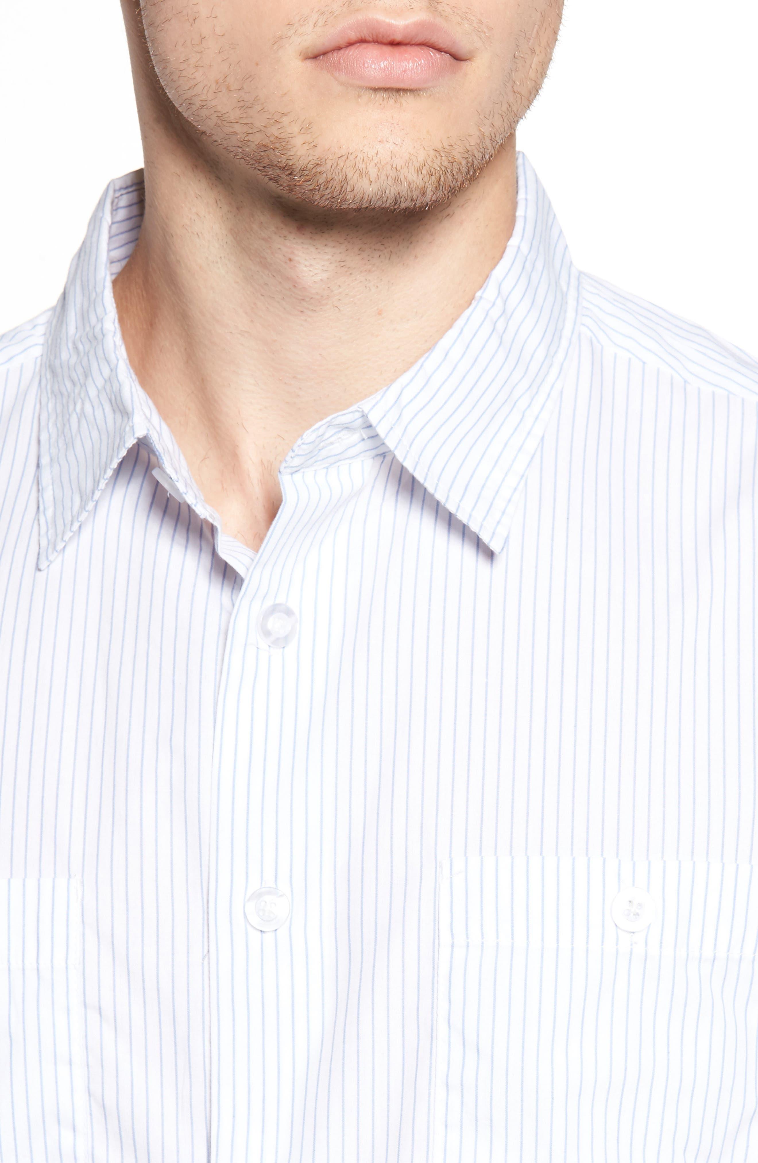 Reeve Pinstripe Woven Shirt,                             Alternate thumbnail 4, color,                             100