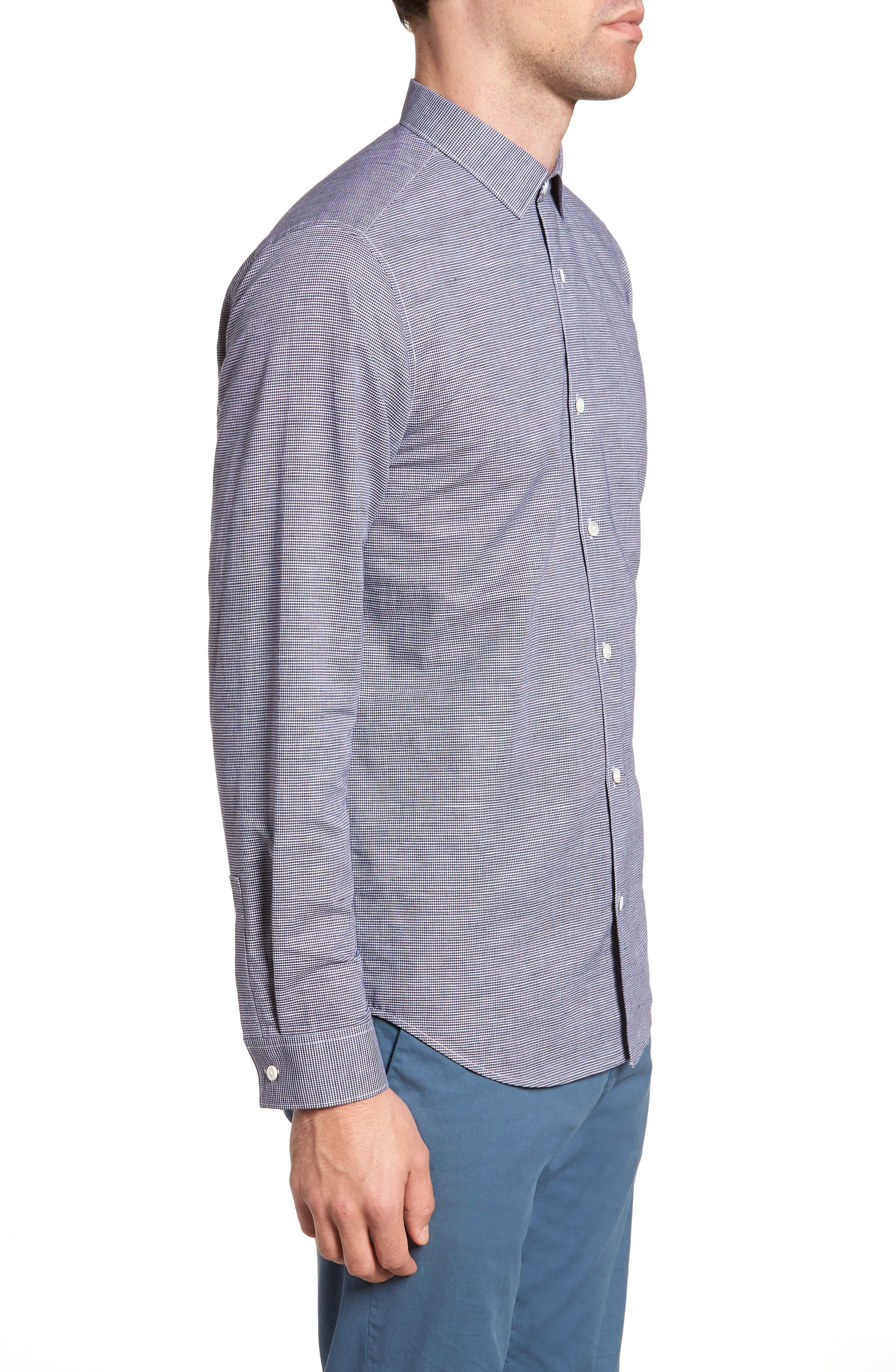 Murrary Trim Fit Check Linen & Cotton Sport Shirt,                             Alternate thumbnail 3, color,                             400