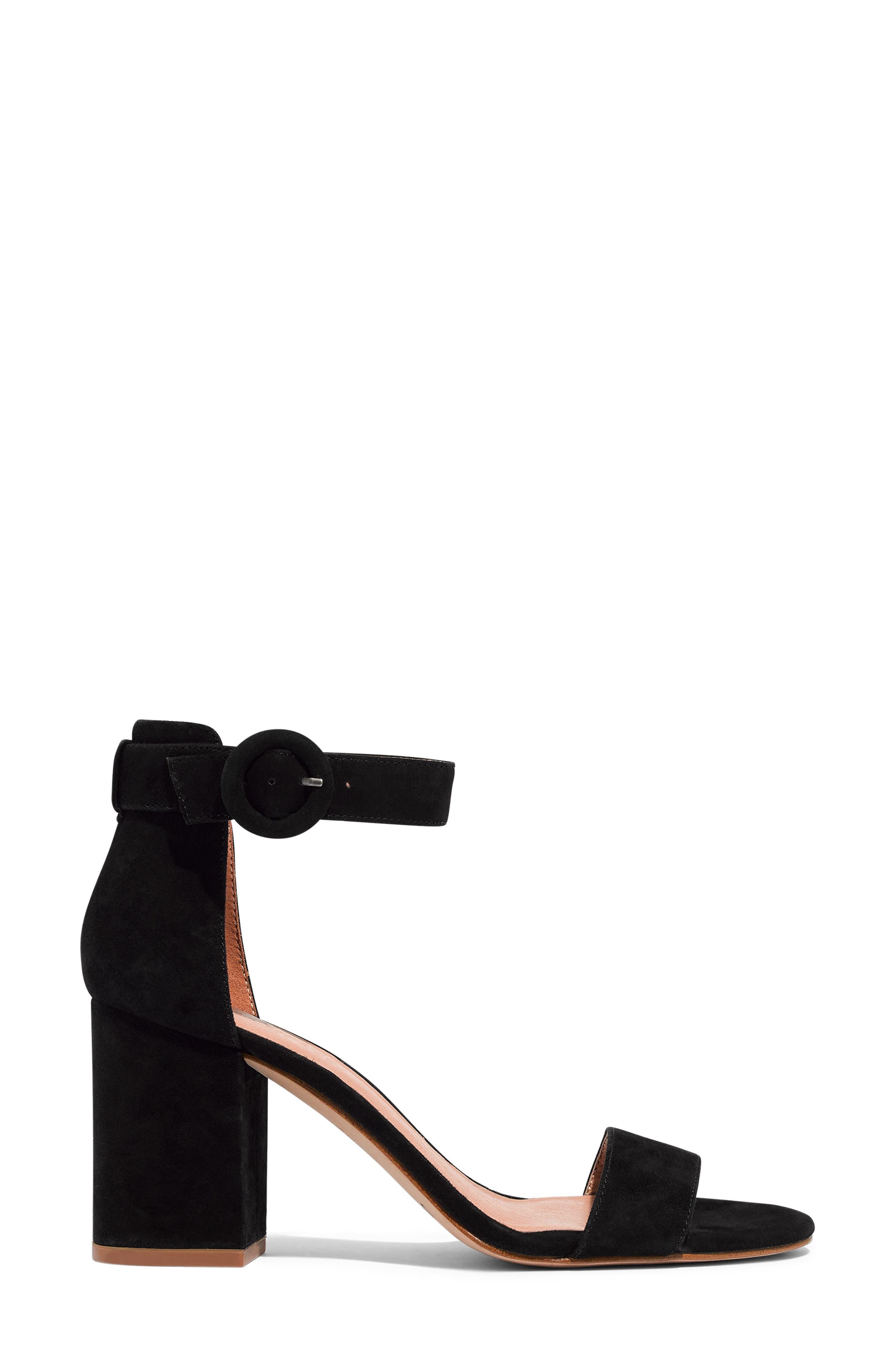 The Regina Ankle Strap Sandal,                             Alternate thumbnail 3, color,                             TRUE BLACK SUEDE
