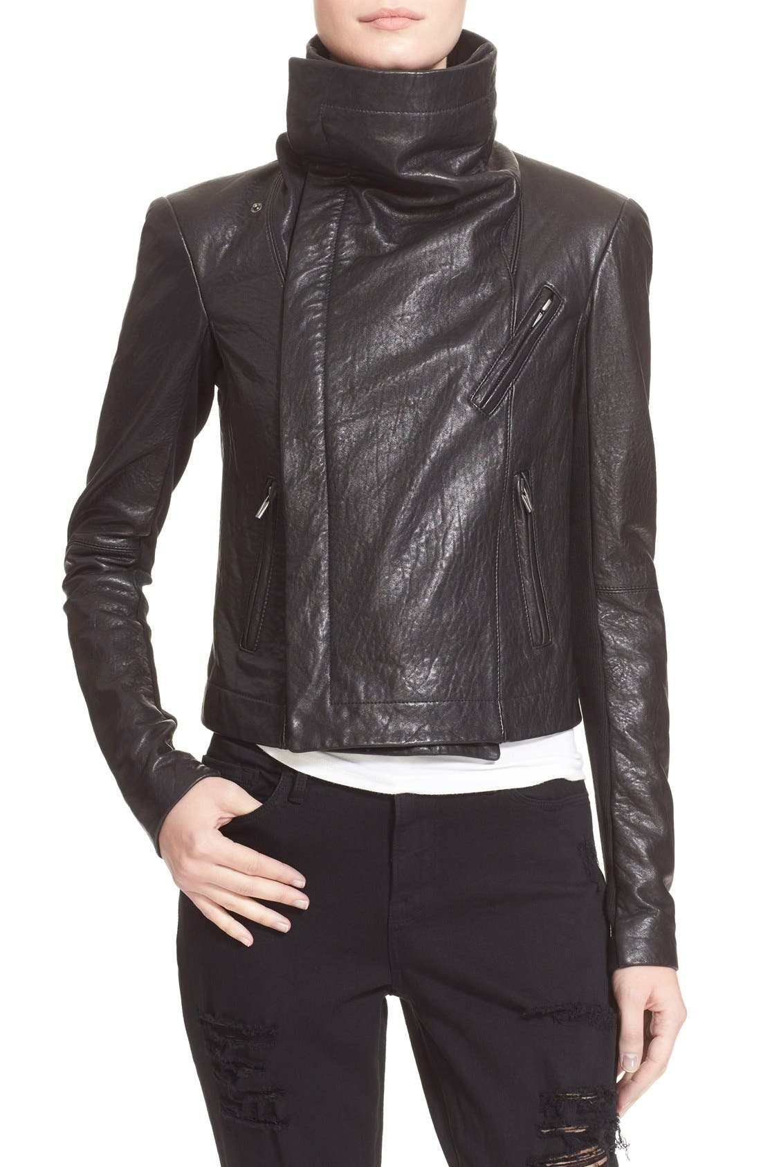 VEDA,                             'Max Classic' Leather Jacket,                             Alternate thumbnail 3, color,                             001