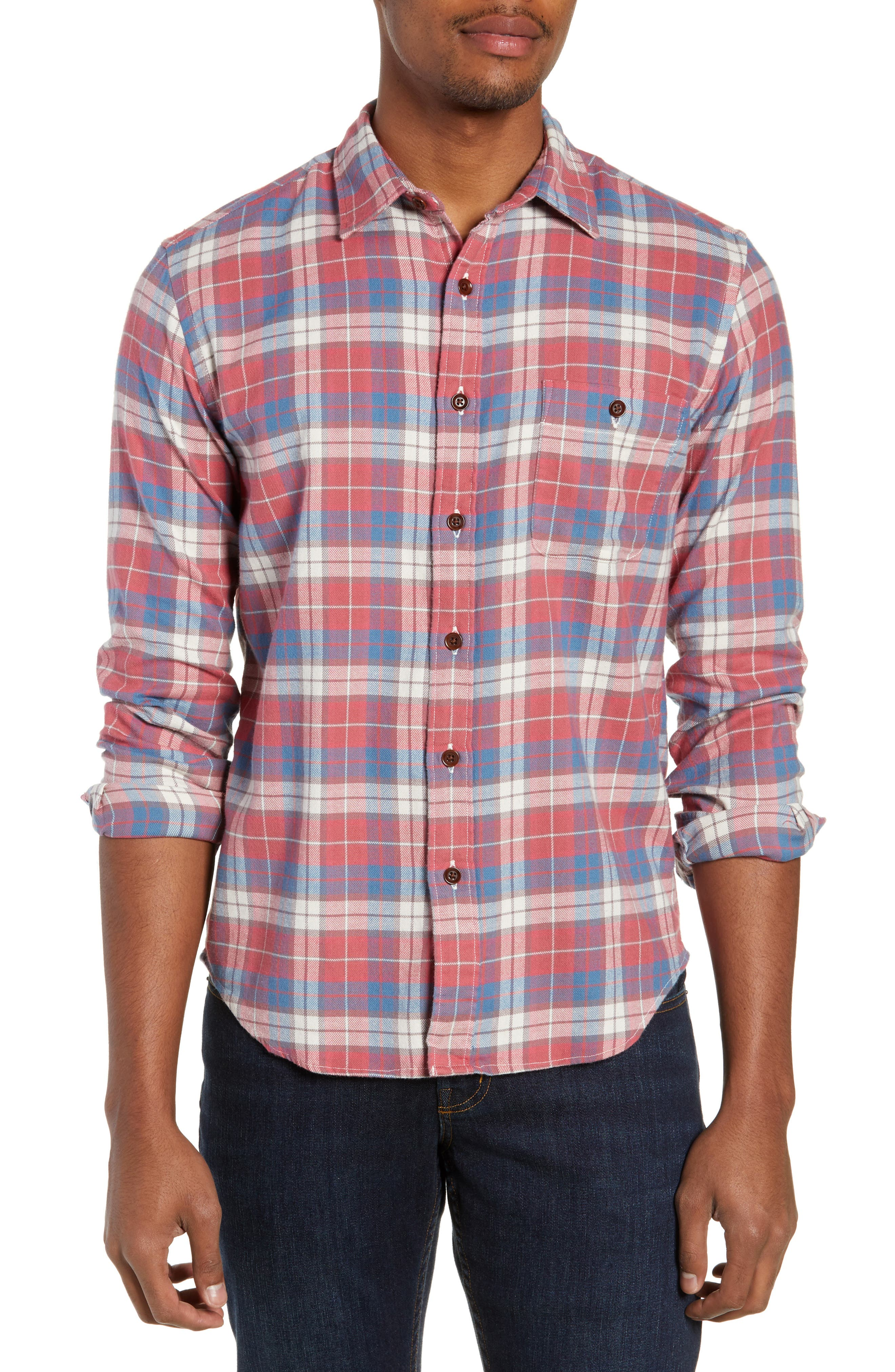 Seaview Stretch Flannel Shirt,                         Main,                         color, RED HORIZON BLUE