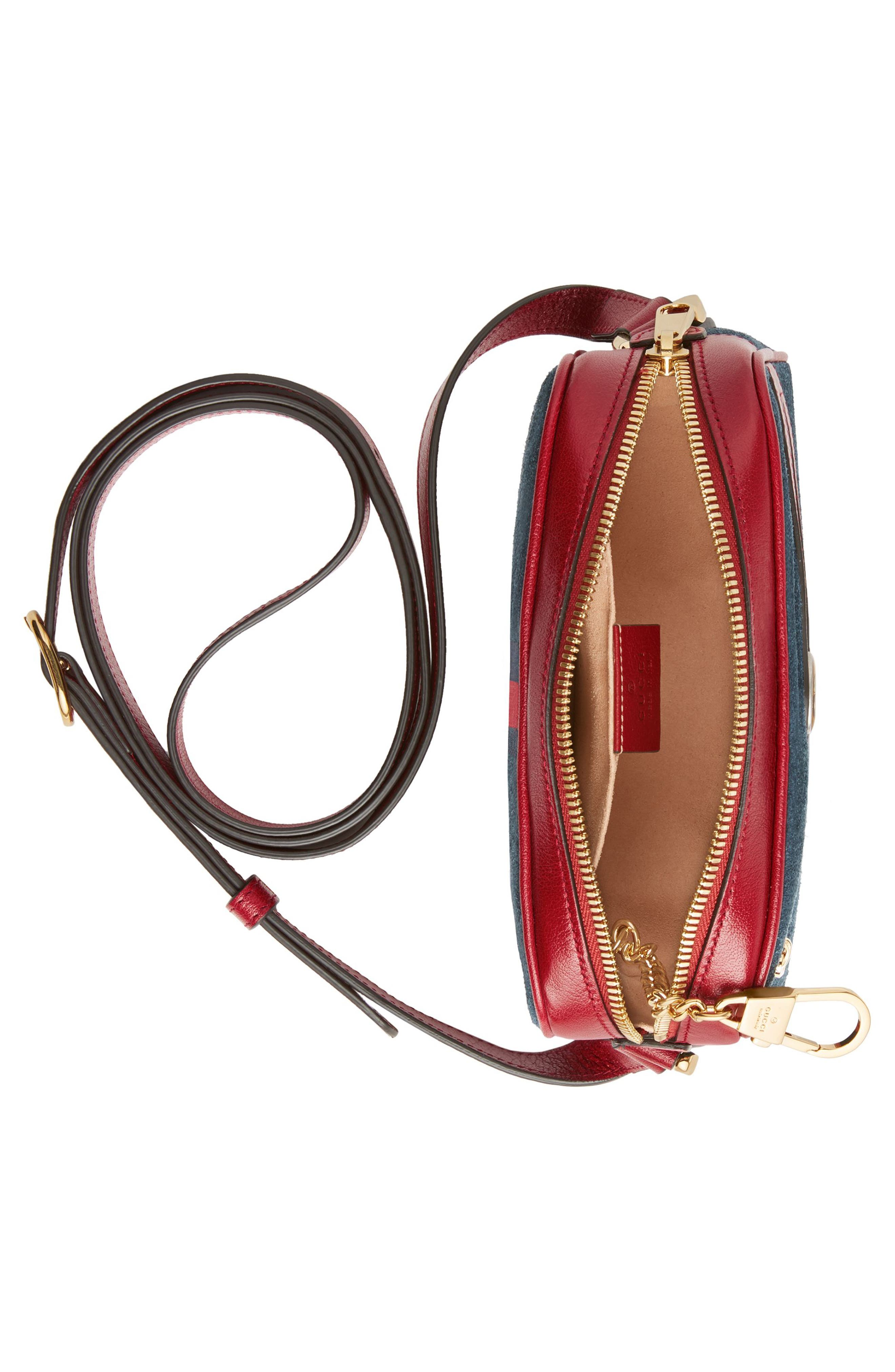 Ophidia Small Suede & Leather Crossbody Bag,                             Alternate thumbnail 3, color,                             NEW BLU/ ROMANATIC CERISE