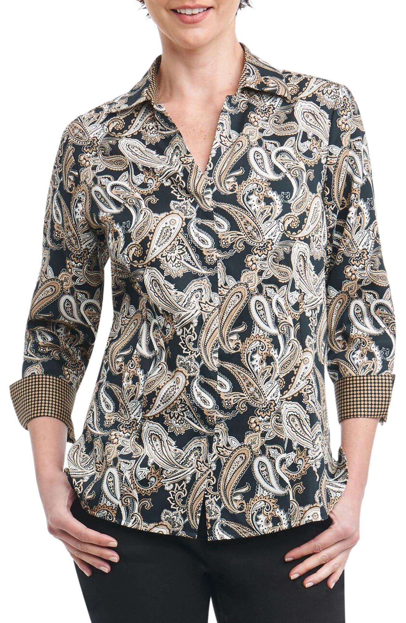 Taylor Heritage Paisley Wrinkle Free Shirt,                         Main,                         color, 002