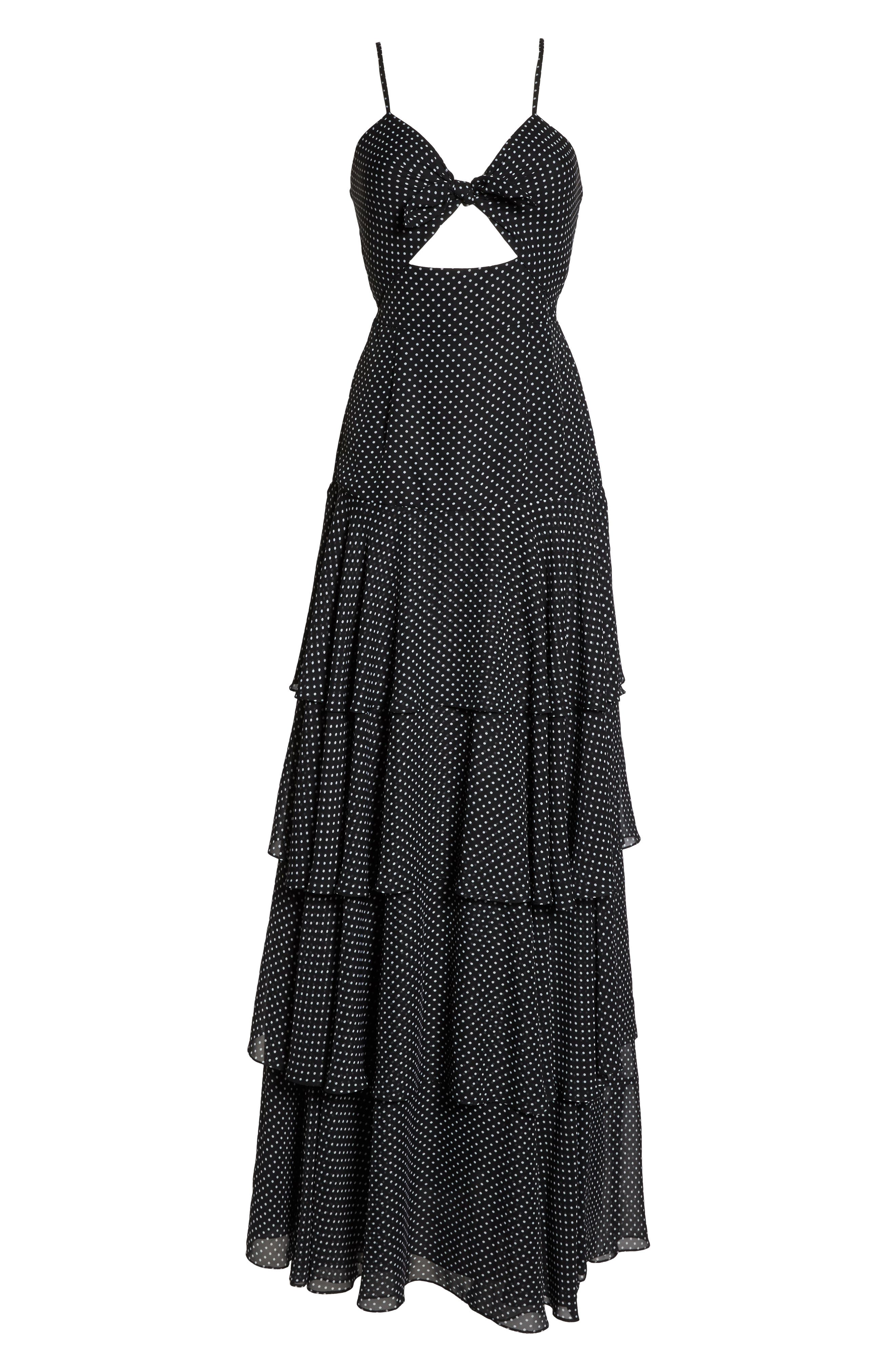 Polka Dot Tiered Gown,                             Alternate thumbnail 6, color,