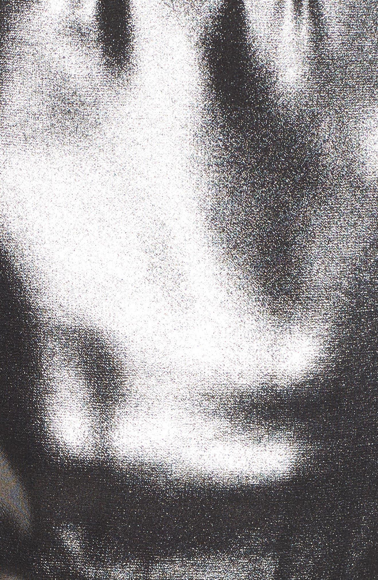 Metallic Pleated Midi Dress,                             Alternate thumbnail 5, color,                             001