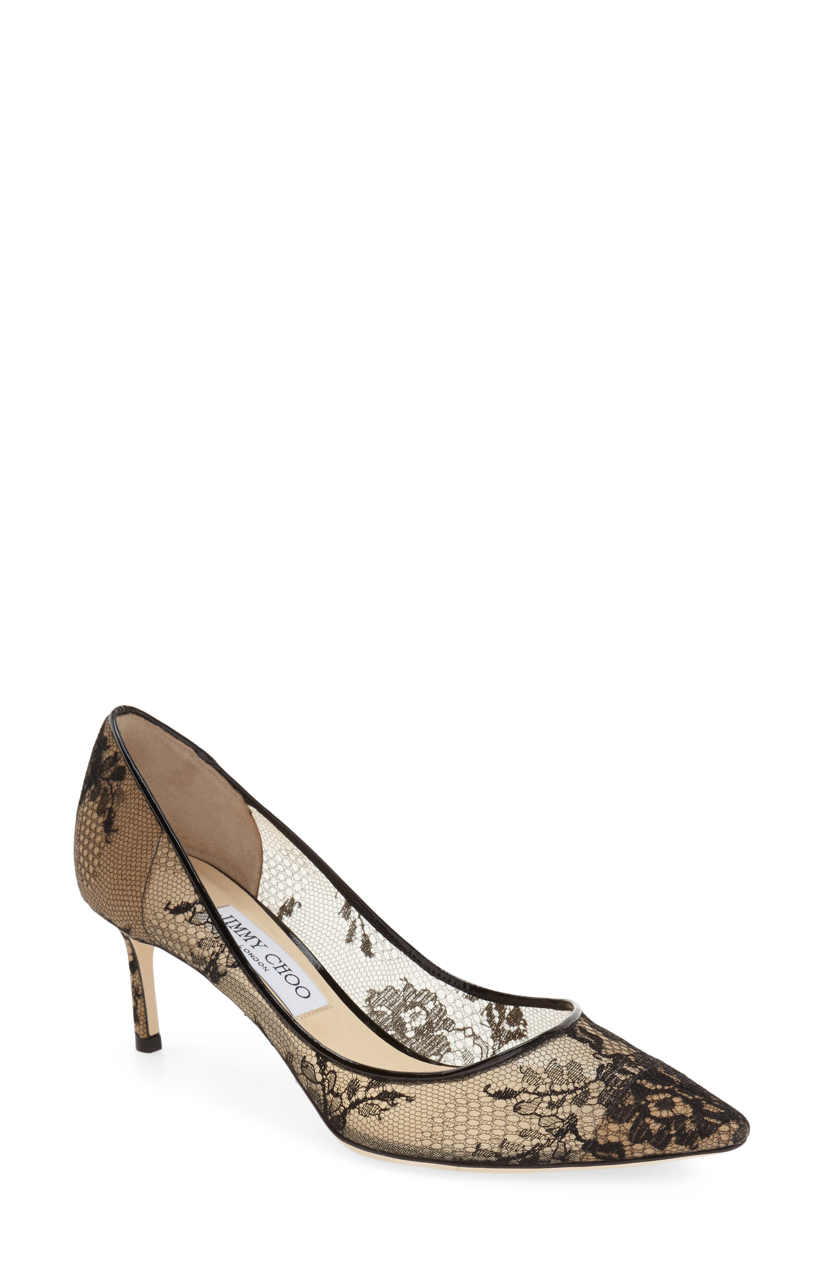 JIMMY CHOO,                             'Romy' Lace Pointy Toe Pump,                             Alternate thumbnail 3, color,                             002