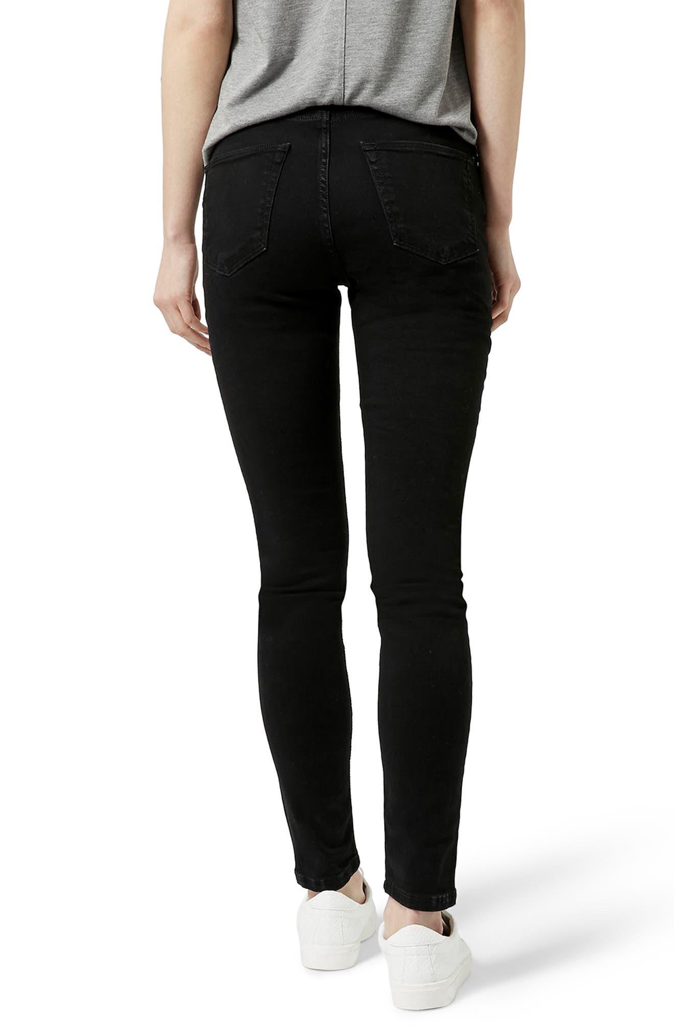 Moto Jamie Ripped Jeans,                             Alternate thumbnail 2, color,                             BLACK
