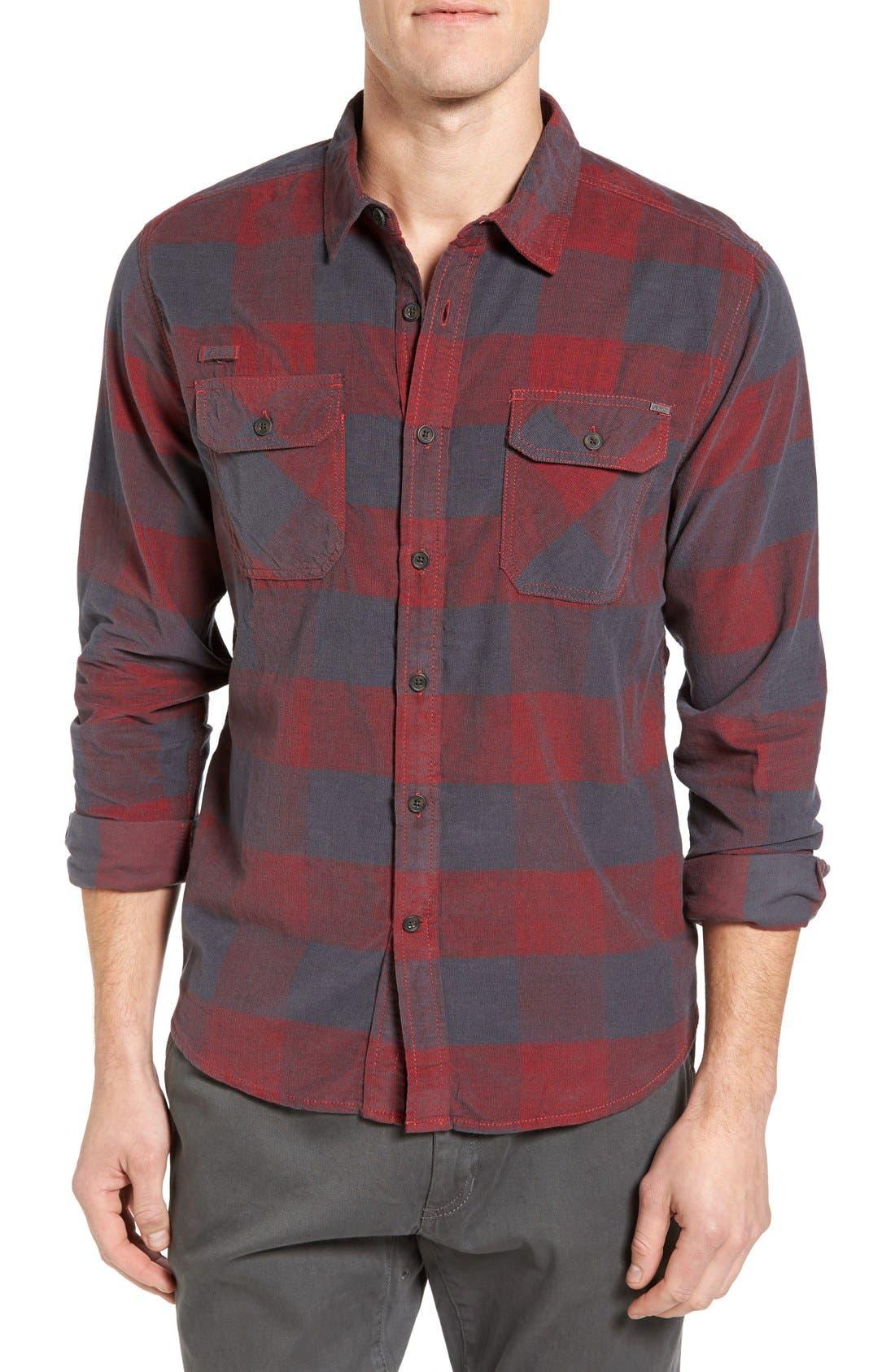 Knock on My Door Regular Fit Check Corduroy Shirt,                             Main thumbnail 2, color,