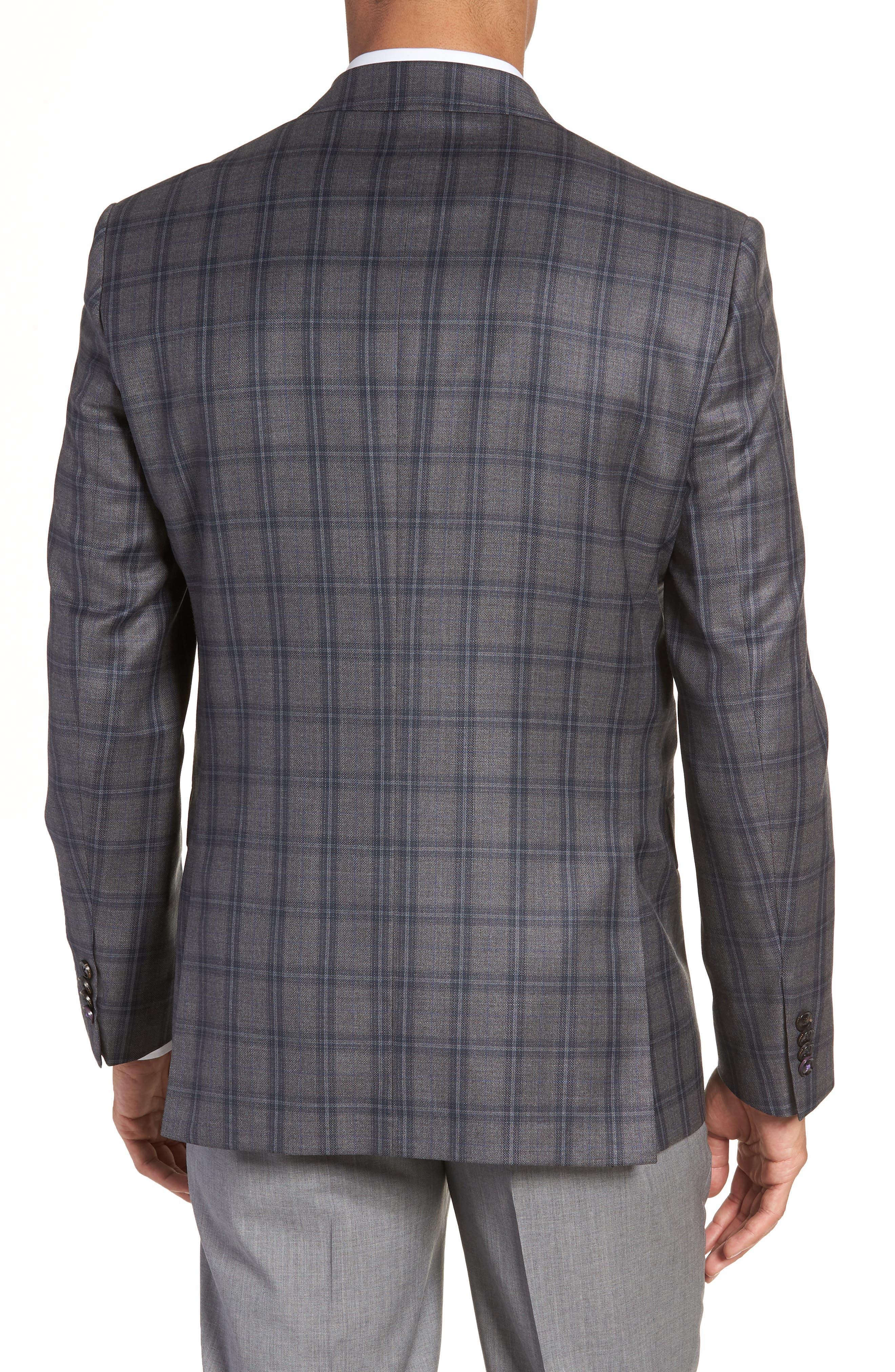 Jay Trim Fit Windowpane Wool Sport Coat,                             Alternate thumbnail 2, color,                             GREY