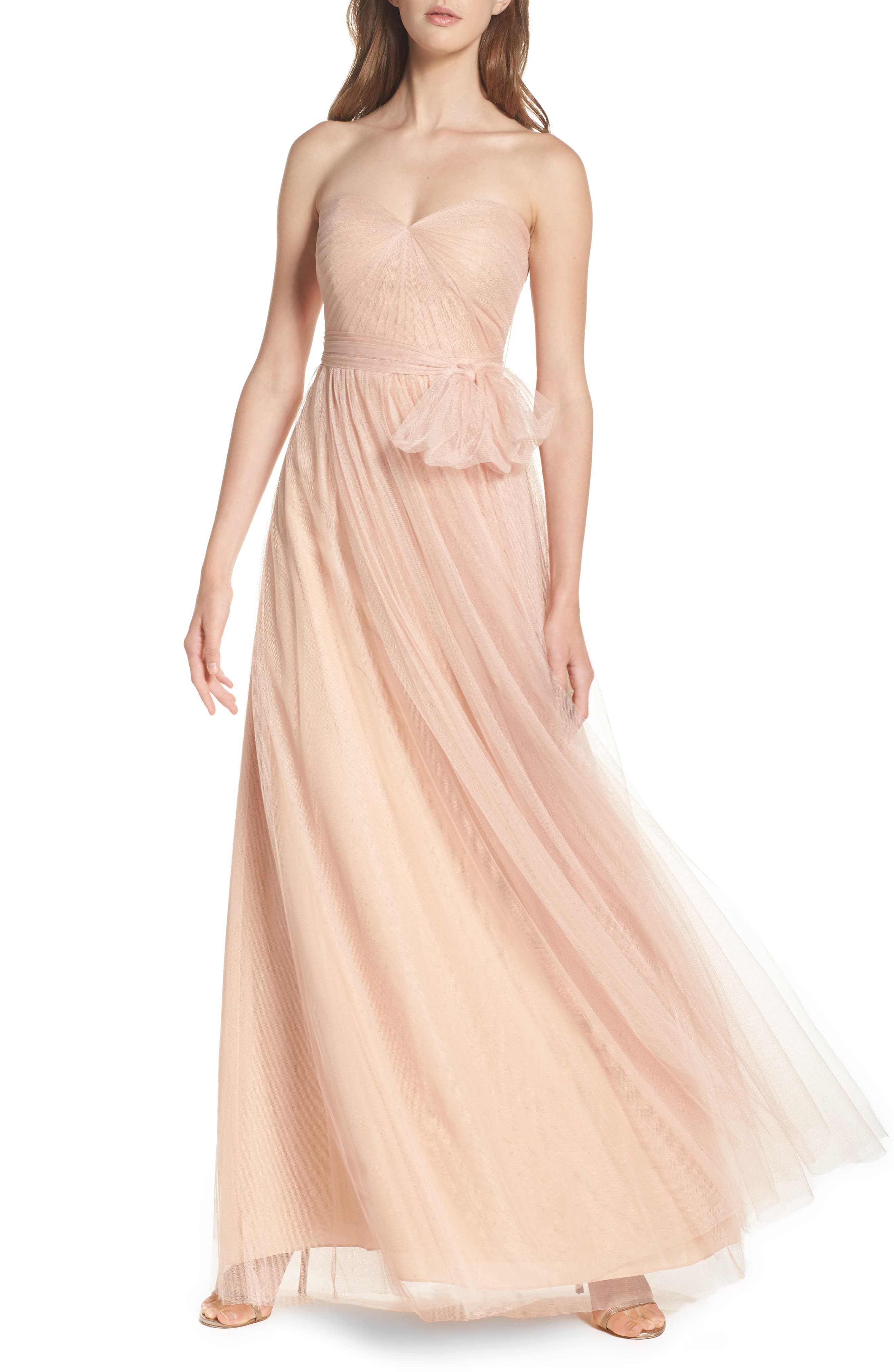 Annabelle Convertible Tulle Column Dress,                             Alternate thumbnail 4, color,                             CAMEO PINK