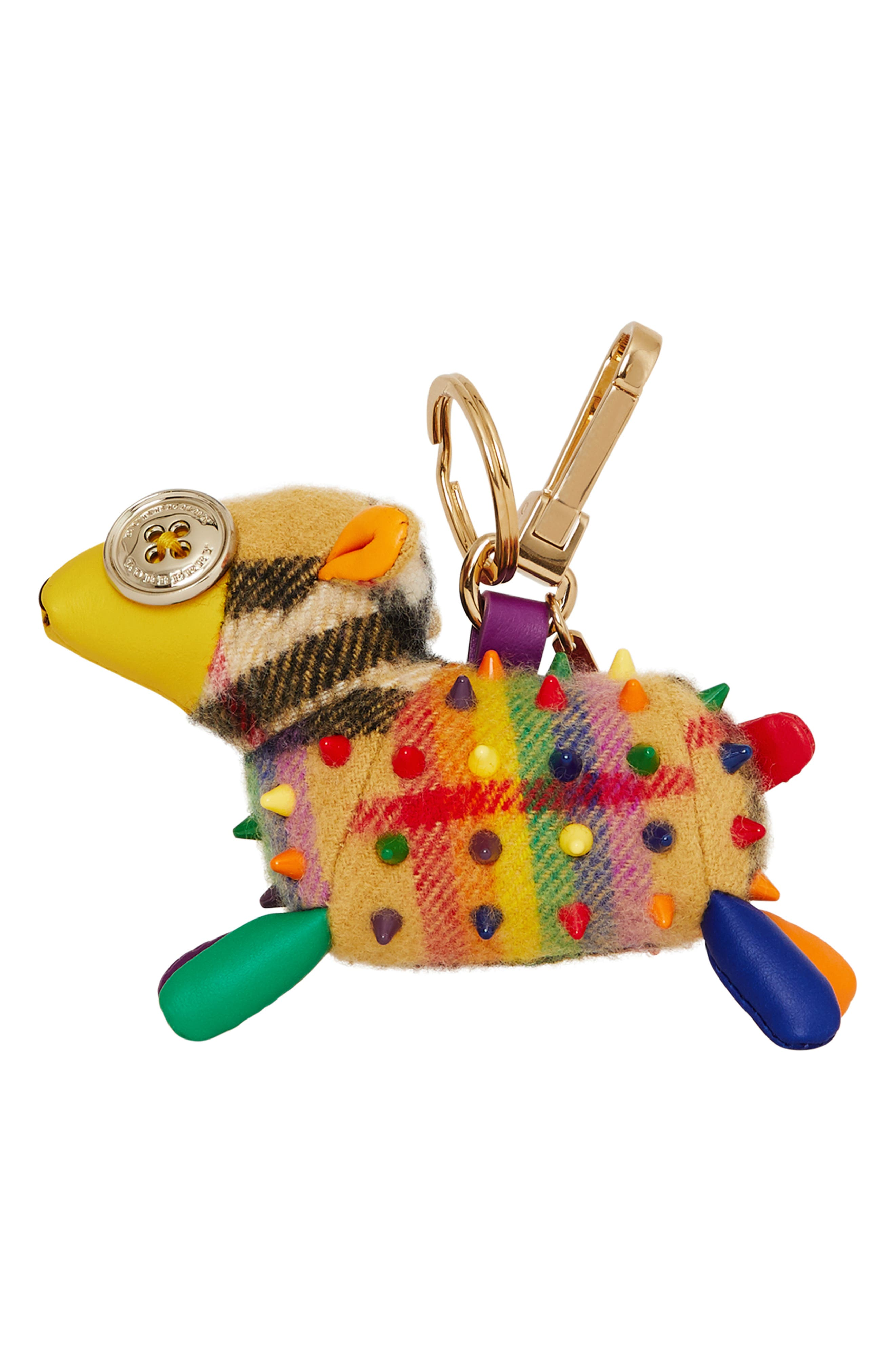 BURBERRY,                             Wendy the Sheep Rainbow Check Cashmere Bag Charm,                             Alternate thumbnail 5, color,                             250