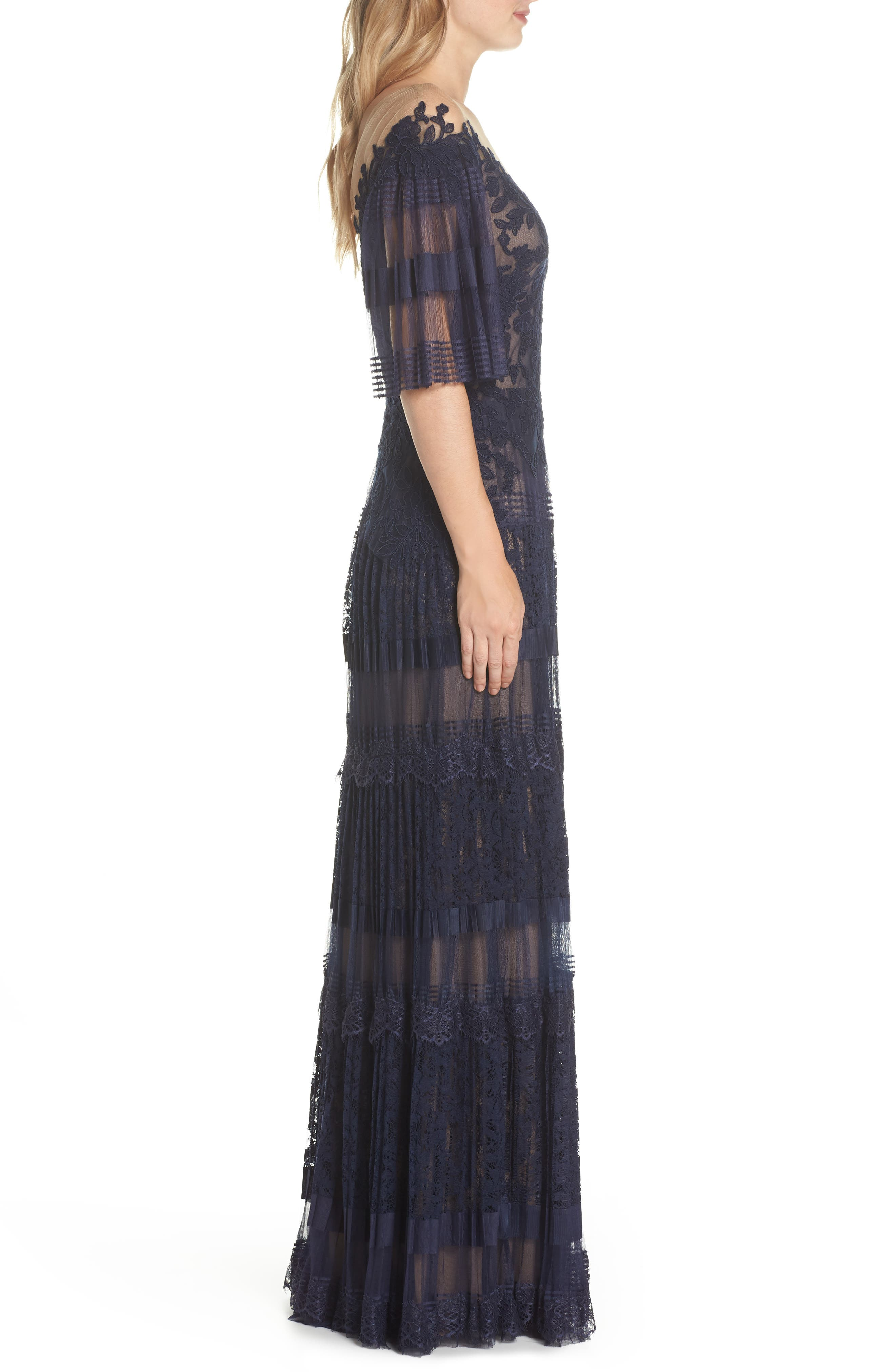 Illusion V-Neck Lace Gown,                             Alternate thumbnail 3, color,                             410