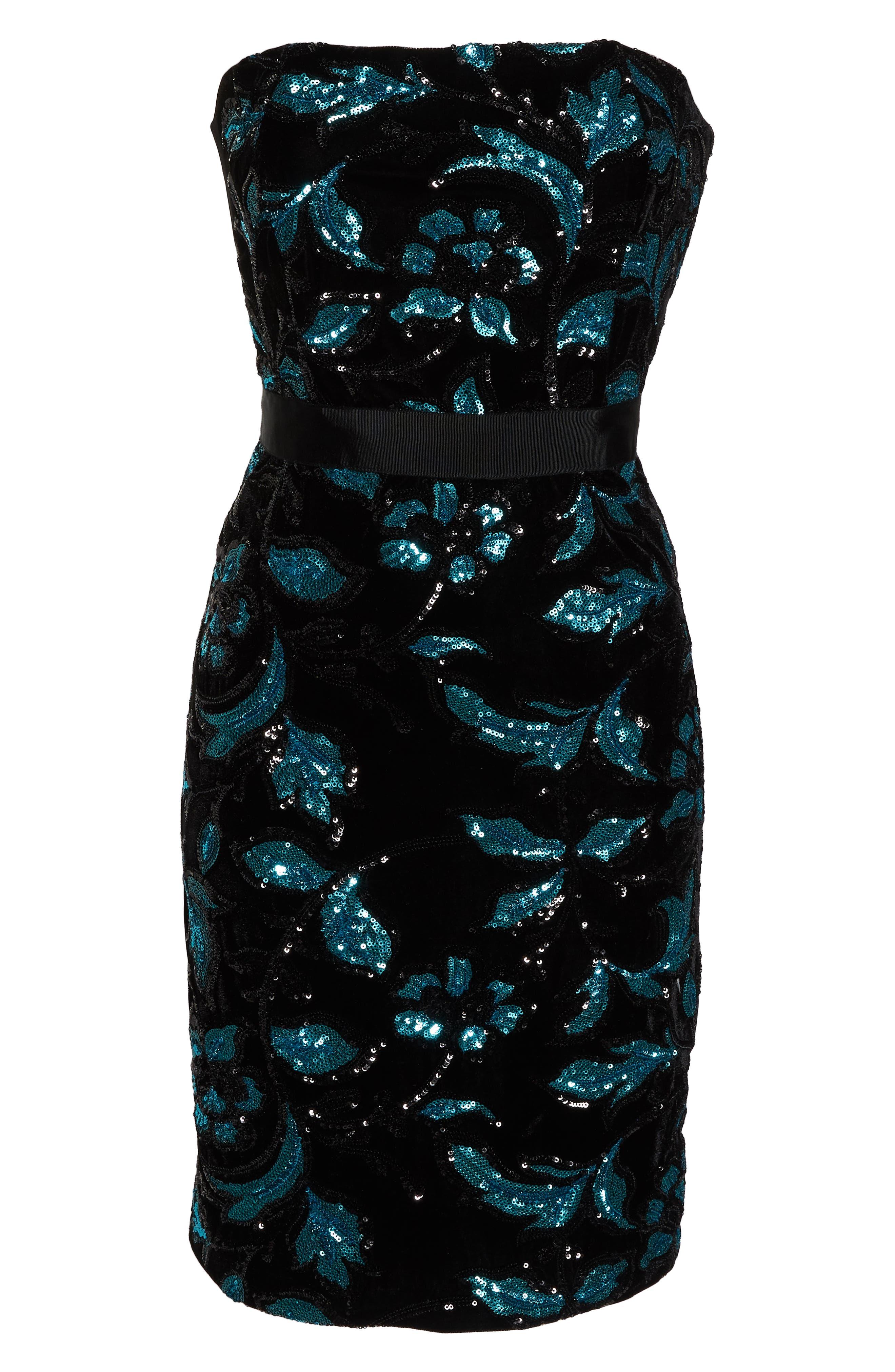 Strapless Sequin Velvet Sheath Dress,                             Alternate thumbnail 7, color,                             BLACK/ TEAL