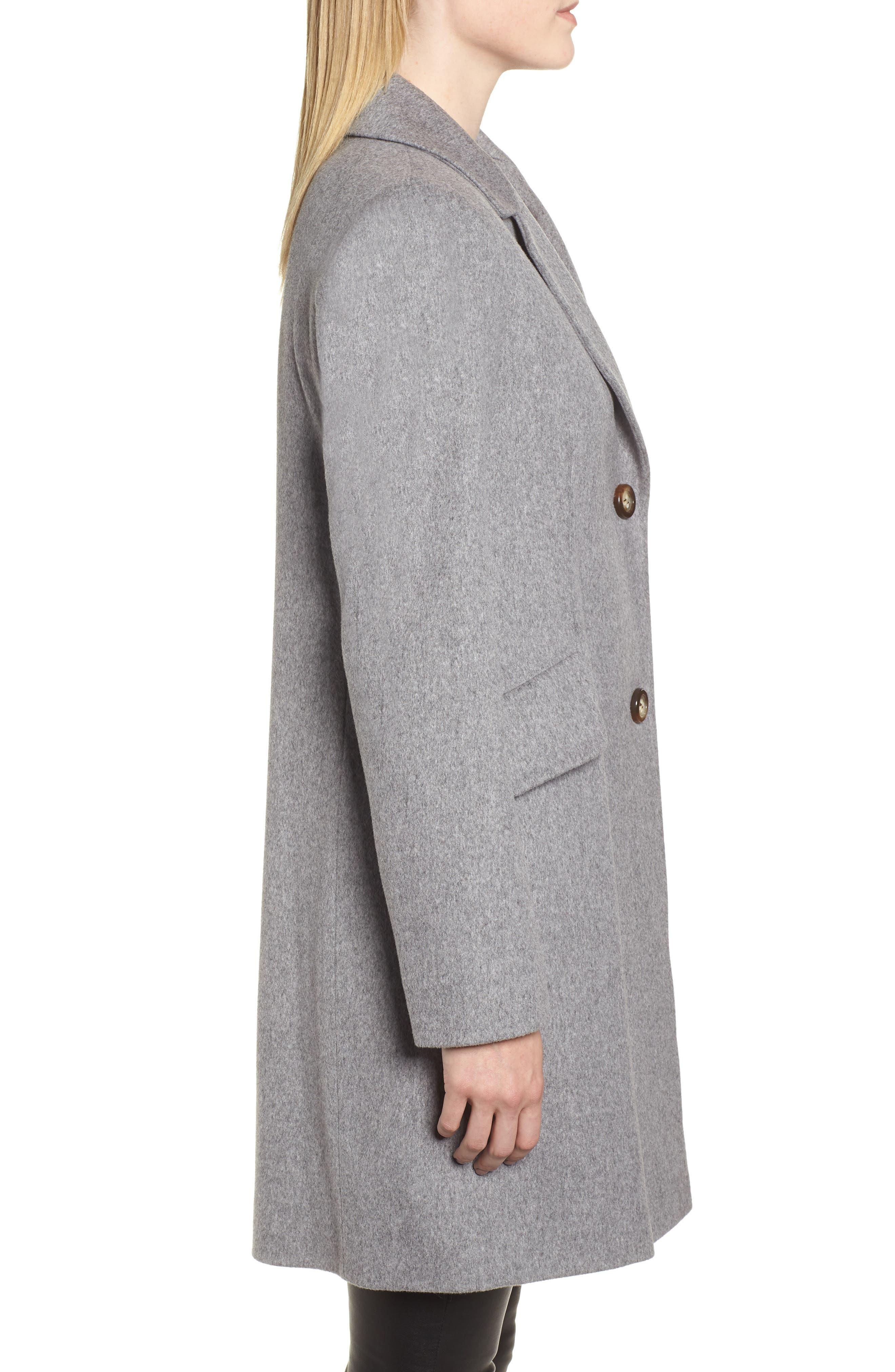 Notch Collar Wool Coat,                             Alternate thumbnail 3, color,                             GREY HEATHER