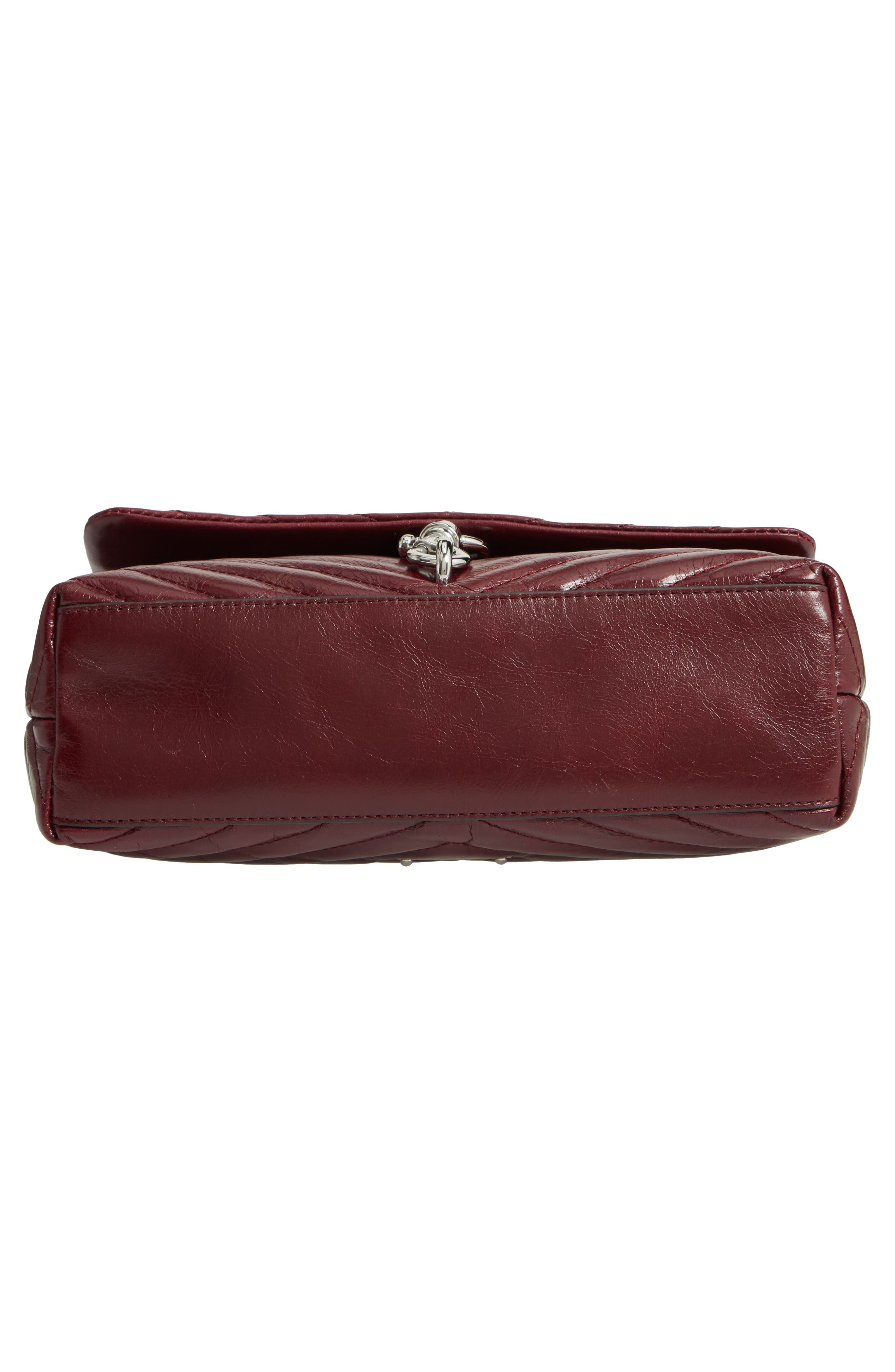 Edie Flap Front Leather Shoulder Bag,                             Alternate thumbnail 6, color,                             BORDEAUX