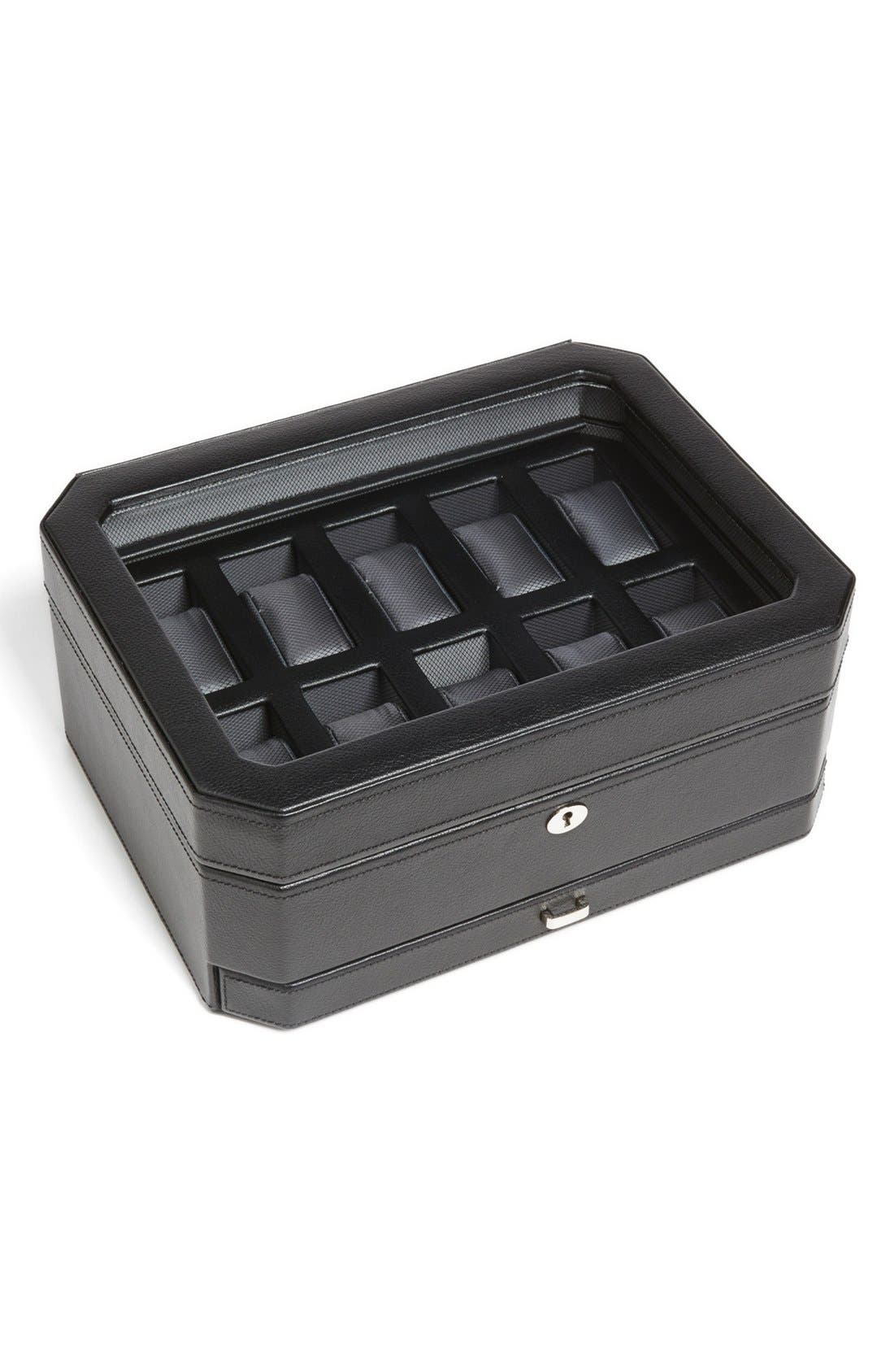 Windsor Watch & Accessory Case,                         Main,                         color, BLACK
