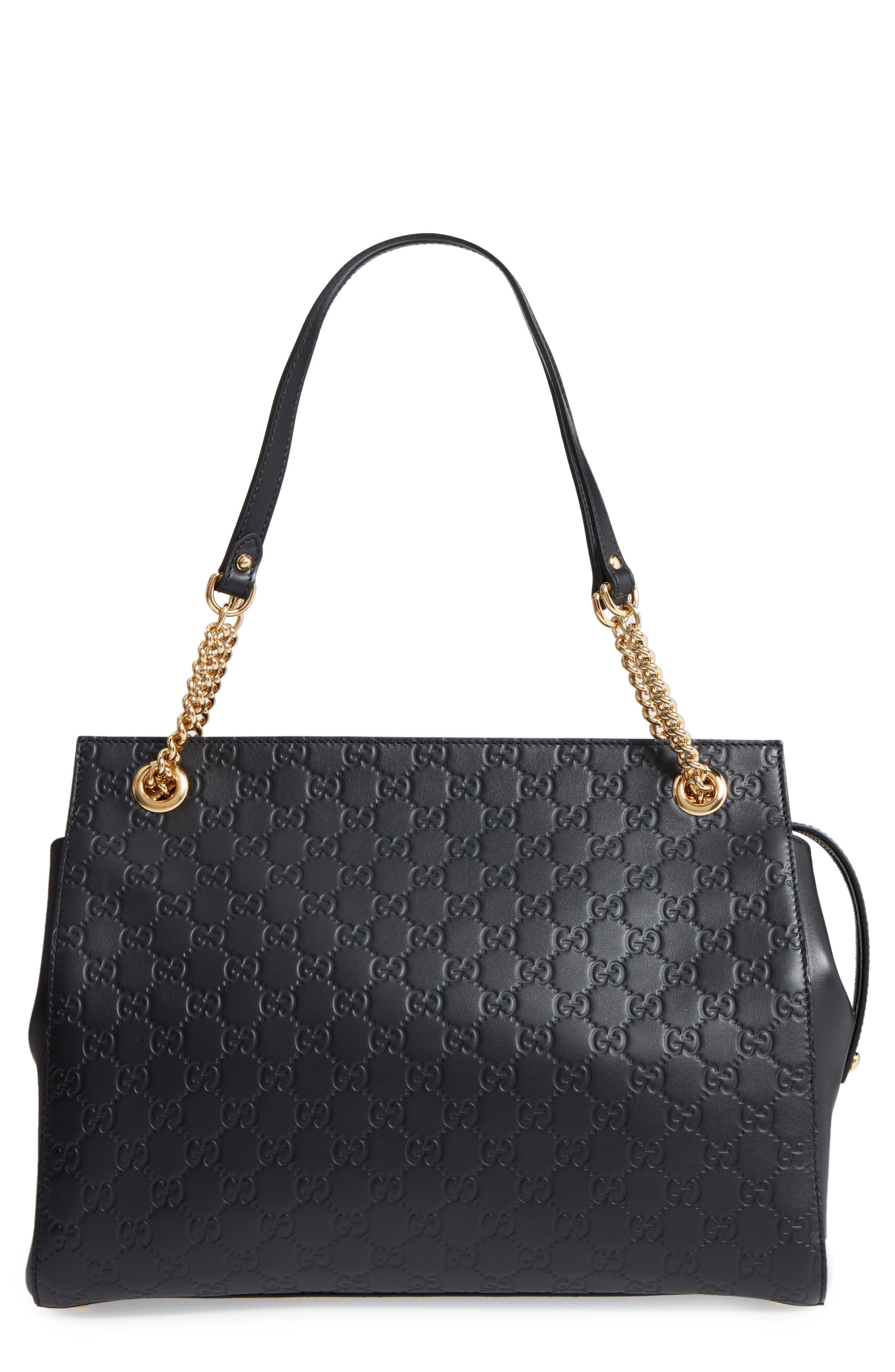 Large Signature Leather Shoulder Bag,                             Main thumbnail 1, color,                             001