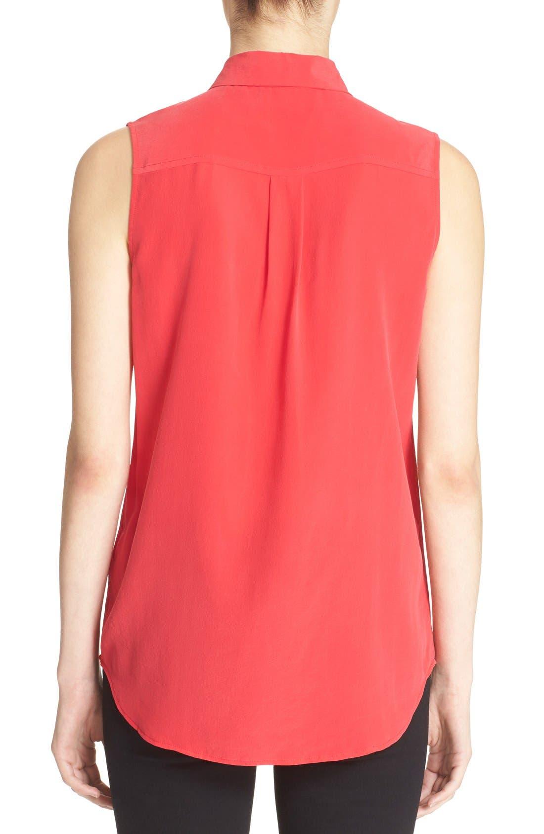 'Slim Signature' Sleeveless Silk Shirt,                             Alternate thumbnail 130, color,