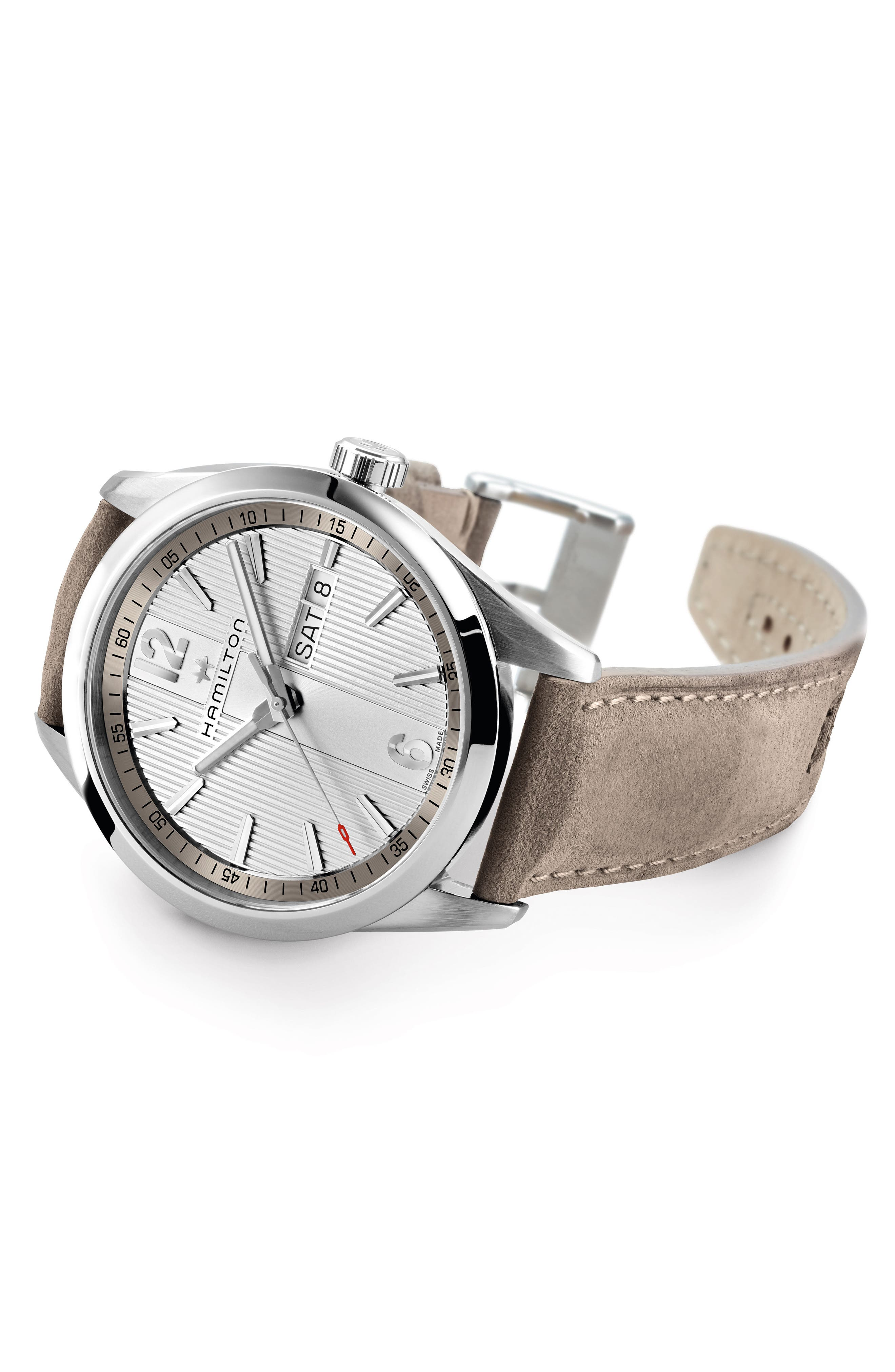 Broadway Leather Strap Watch, 40mm,                             Alternate thumbnail 2, color,                             GREY/ SILVER