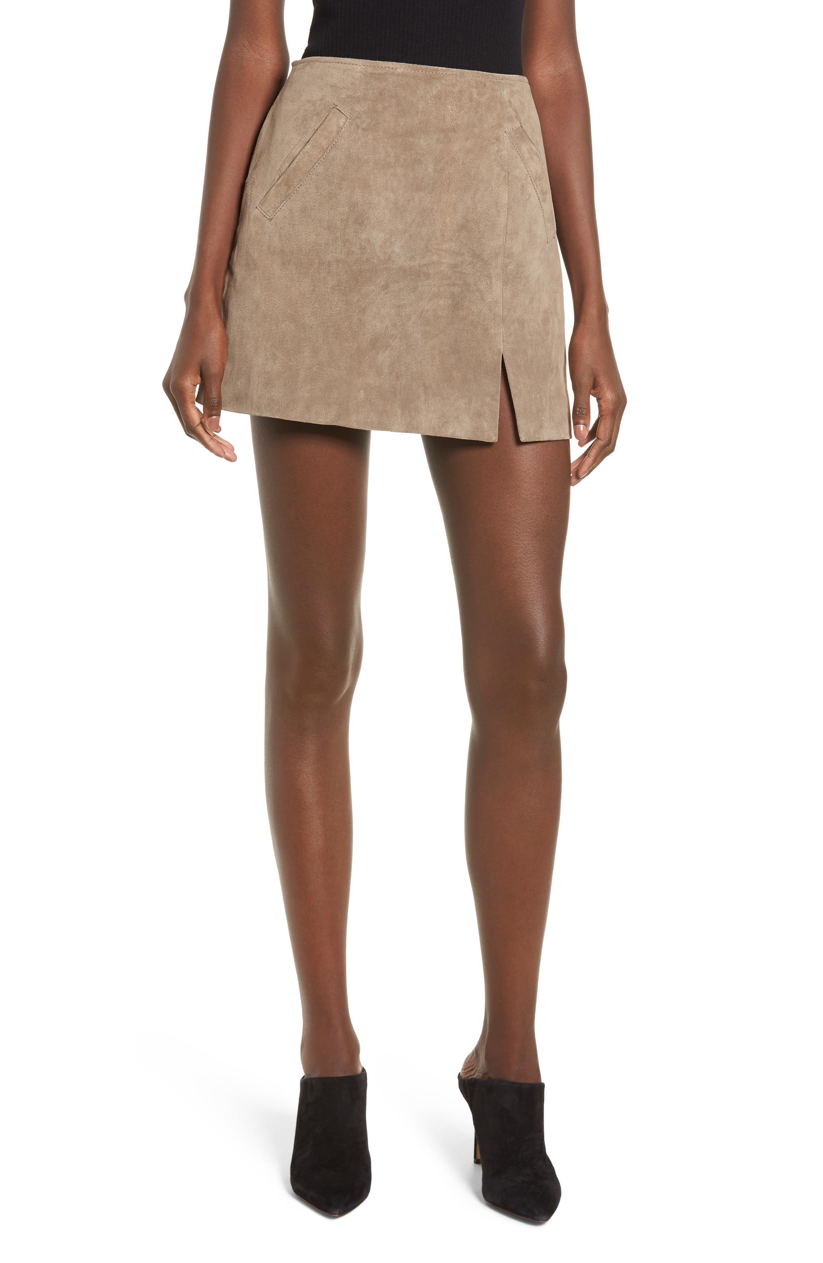 Blanknyc Suede Miniskirt, Beige