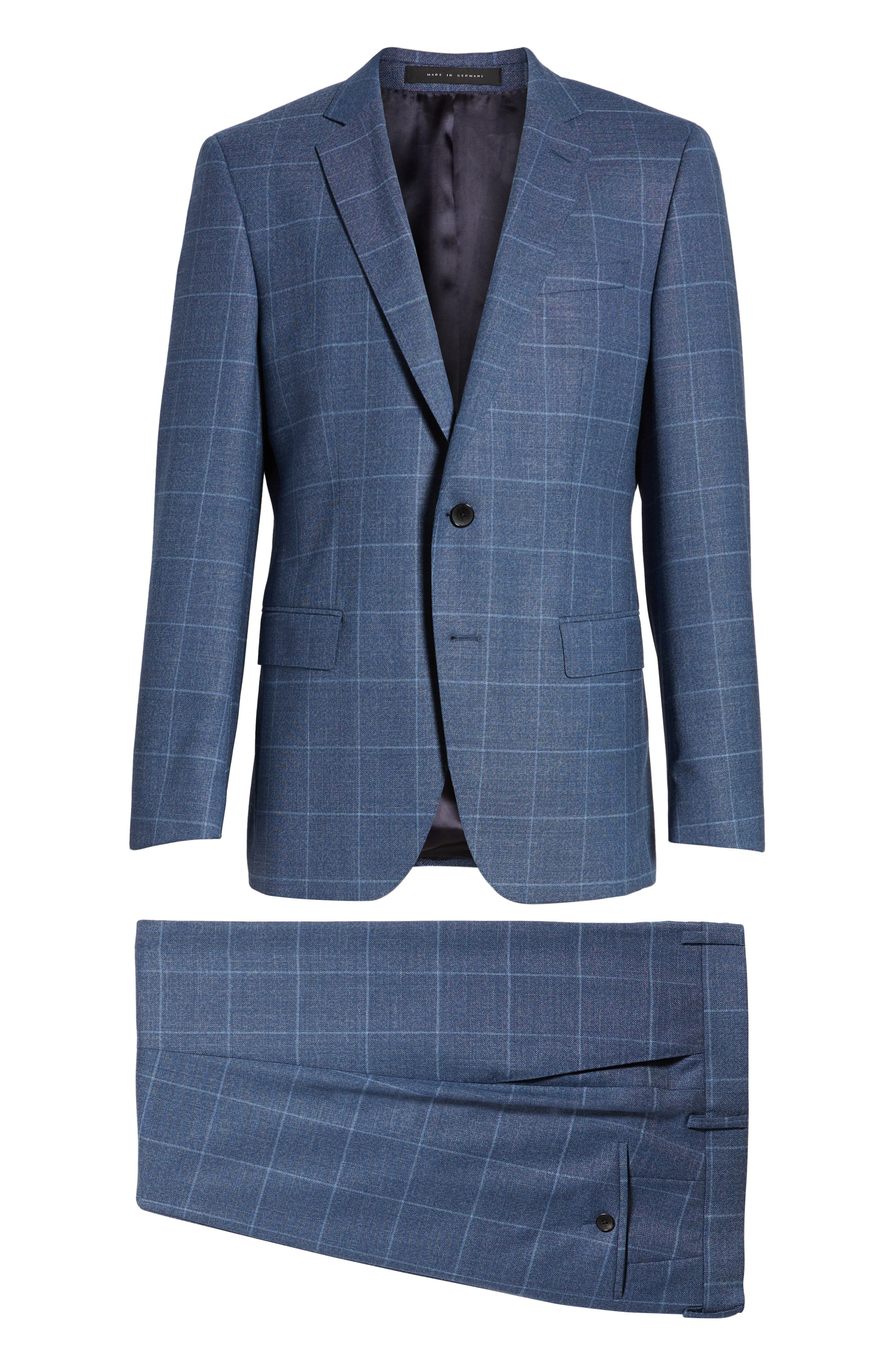 Huge/Genius Trim Fit Windowpane Wool Suit,                             Alternate thumbnail 8, color,                             400