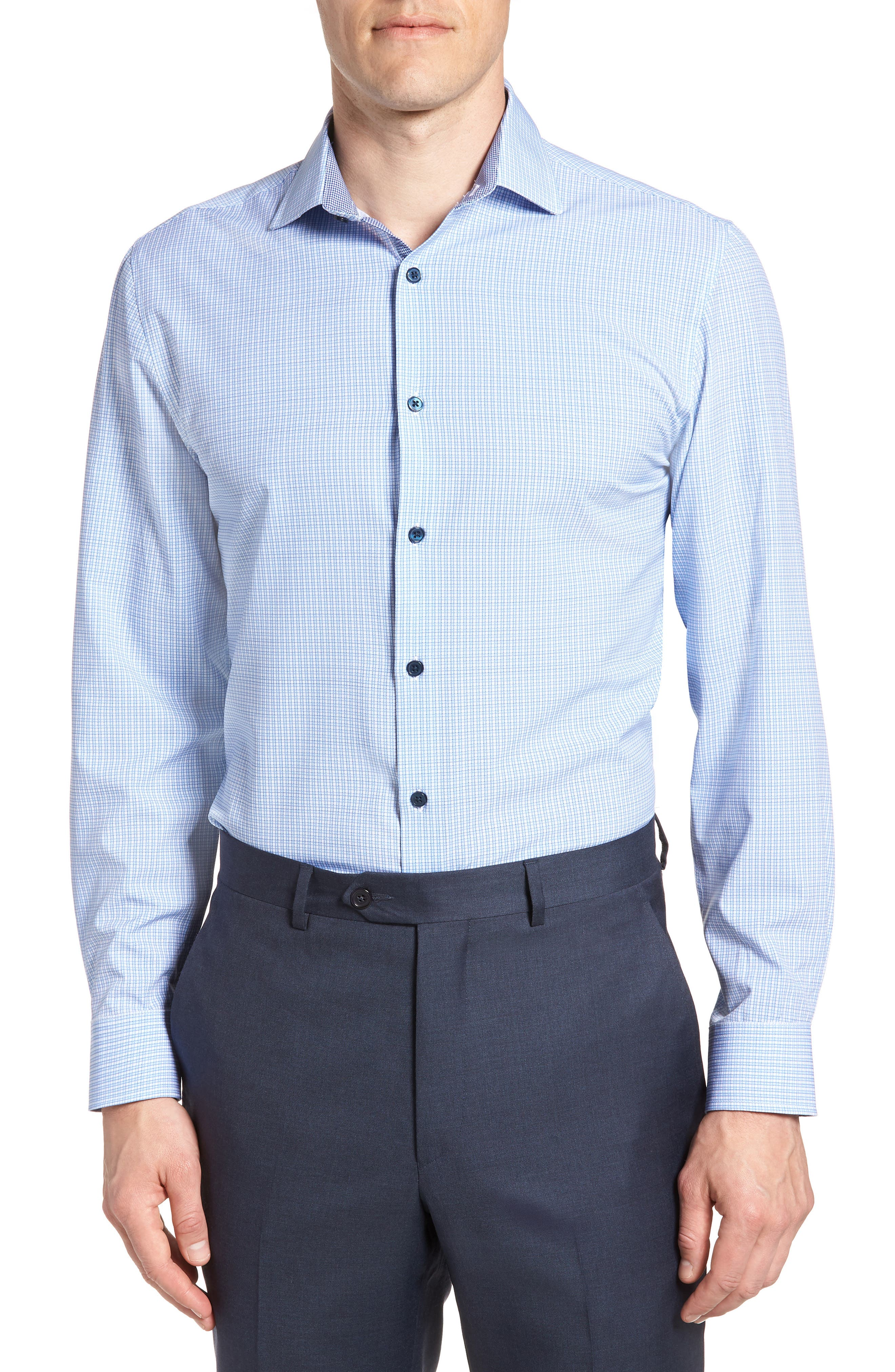 Trim Fit Check 4-Way Stretch Dress Shirt,                             Main thumbnail 1, color,                             BLUE