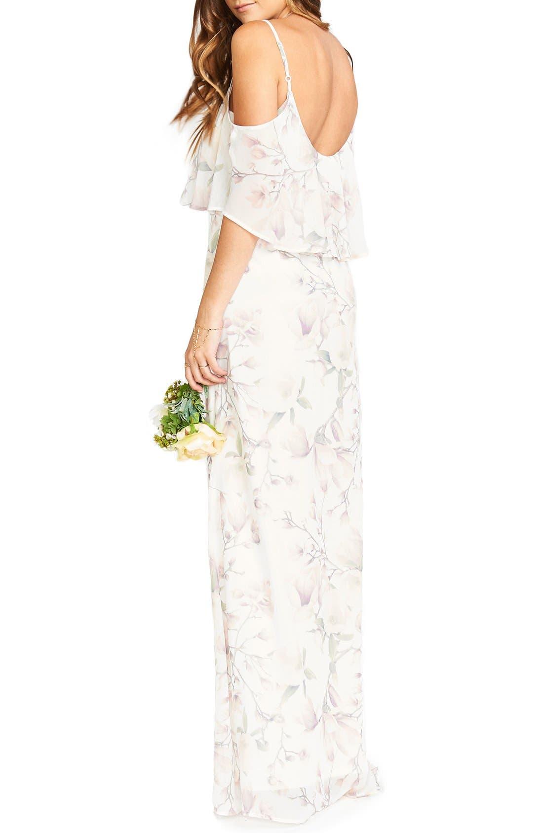 Caitlin Cold Shoulder Chiffon Gown,                             Alternate thumbnail 76, color,